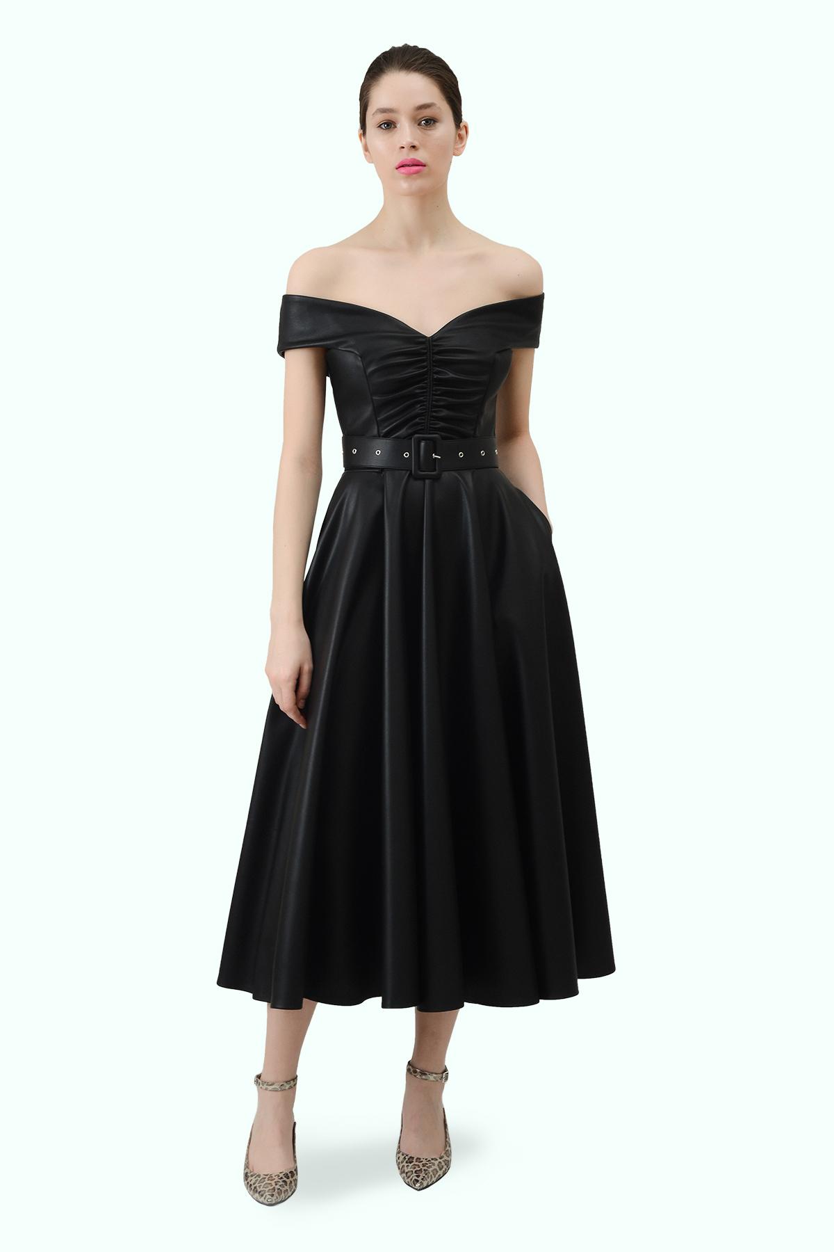 """Black vegan leather """"bardot"""" shoulder dress"""