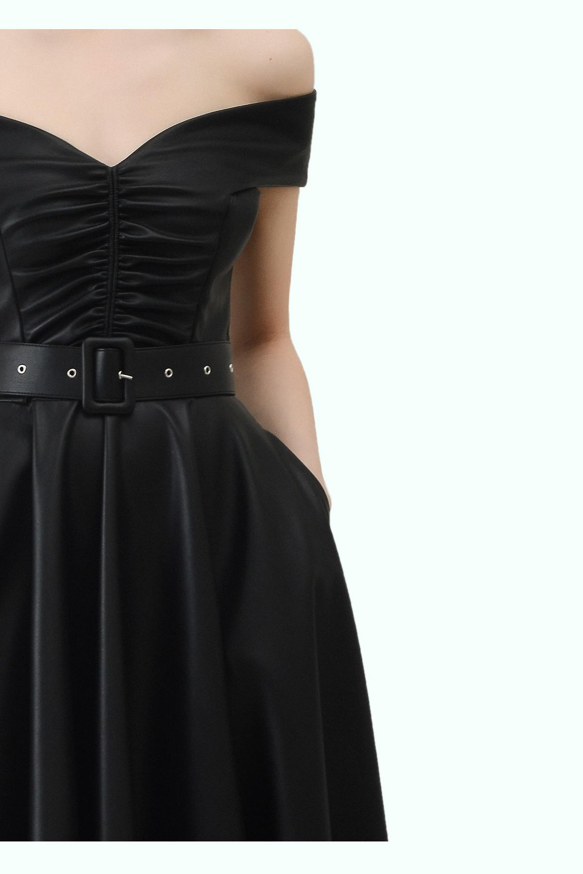 """Black vegan leather """"bardot"""" shoulder dress 2"""