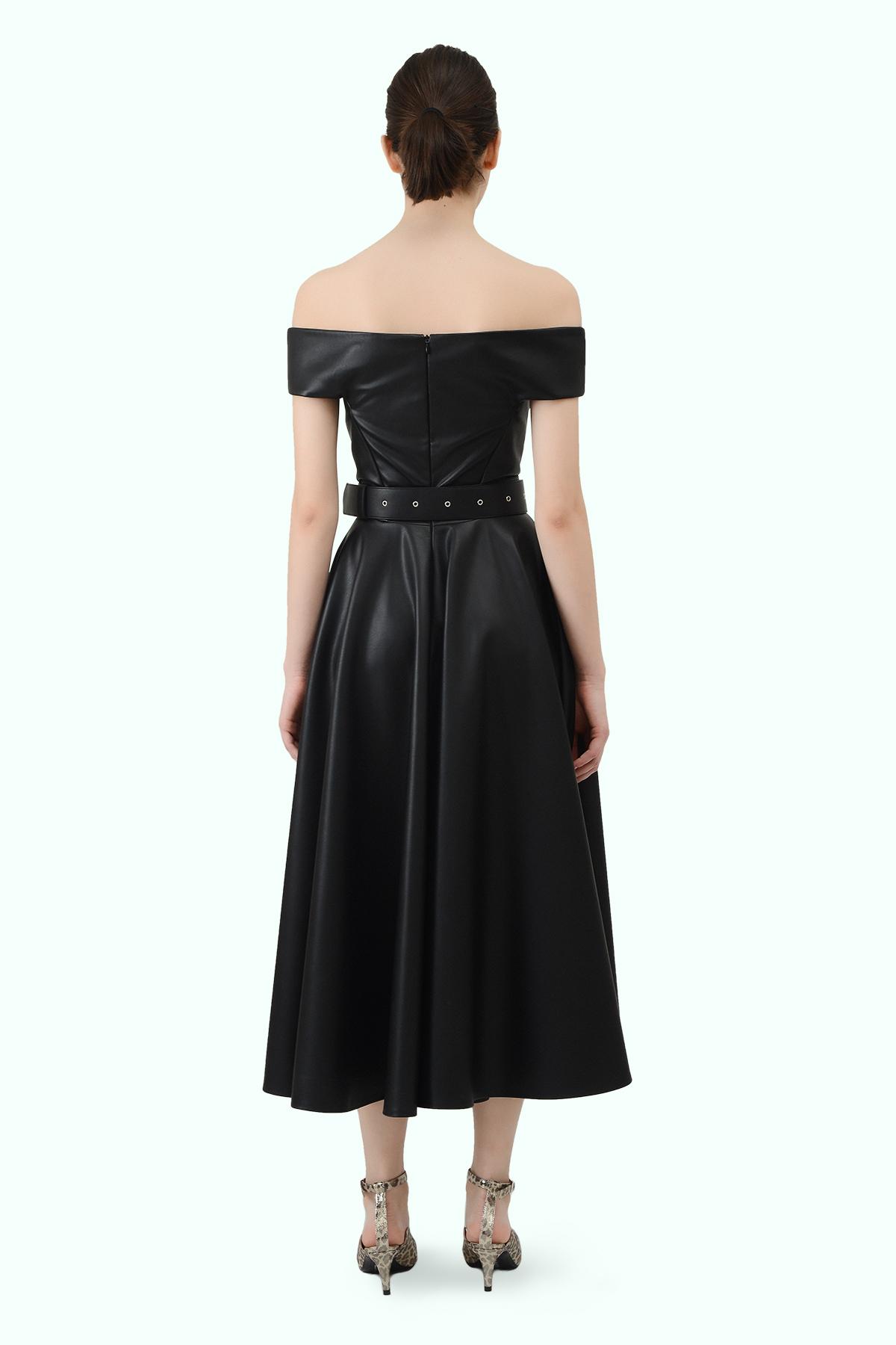 """Black vegan leather """"bardot"""" shoulder dress 3"""