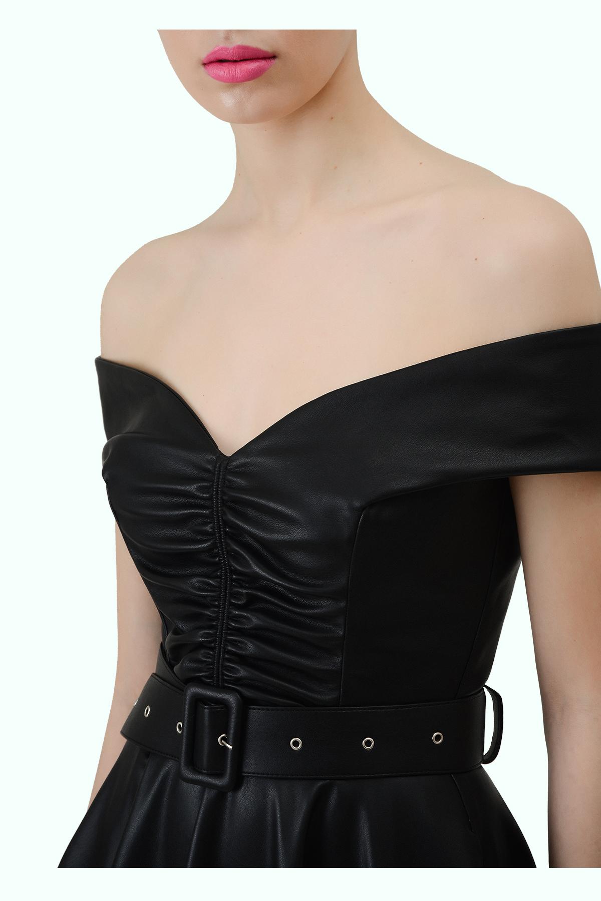 """Black vegan leather """"bardot"""" shoulder dress 4"""