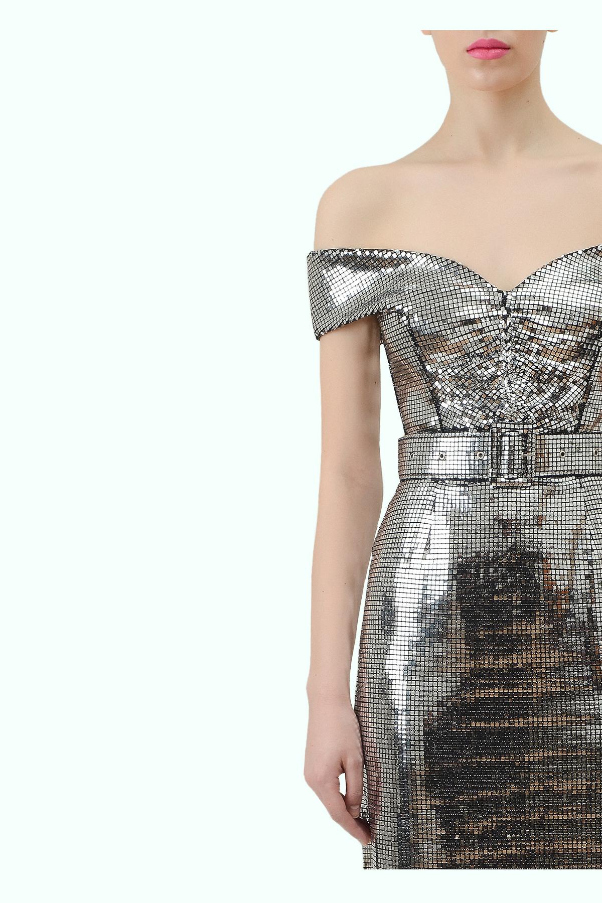 "Silver ""bardot"" shoulder disco dress 3"