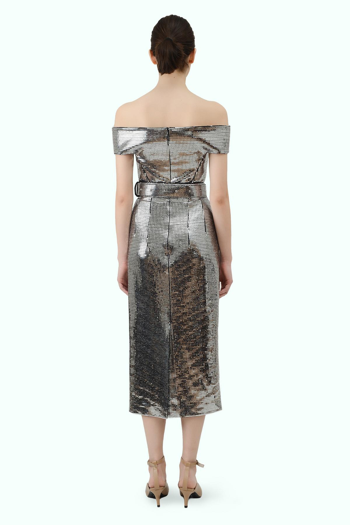 "Silver ""bardot"" shoulder disco dress 4"