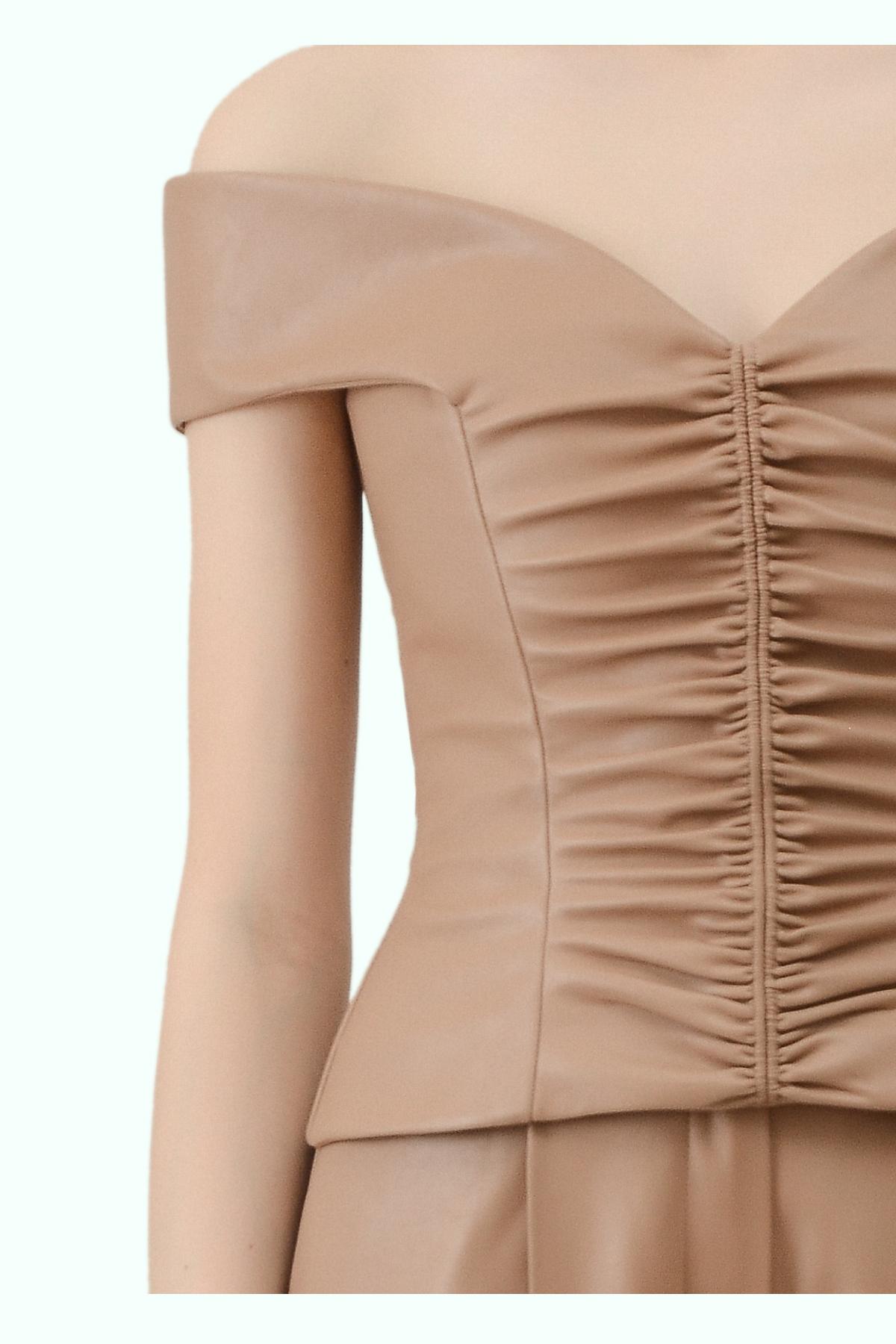 """Beige vegan leather """"bardot"""" shoulder top 2"""