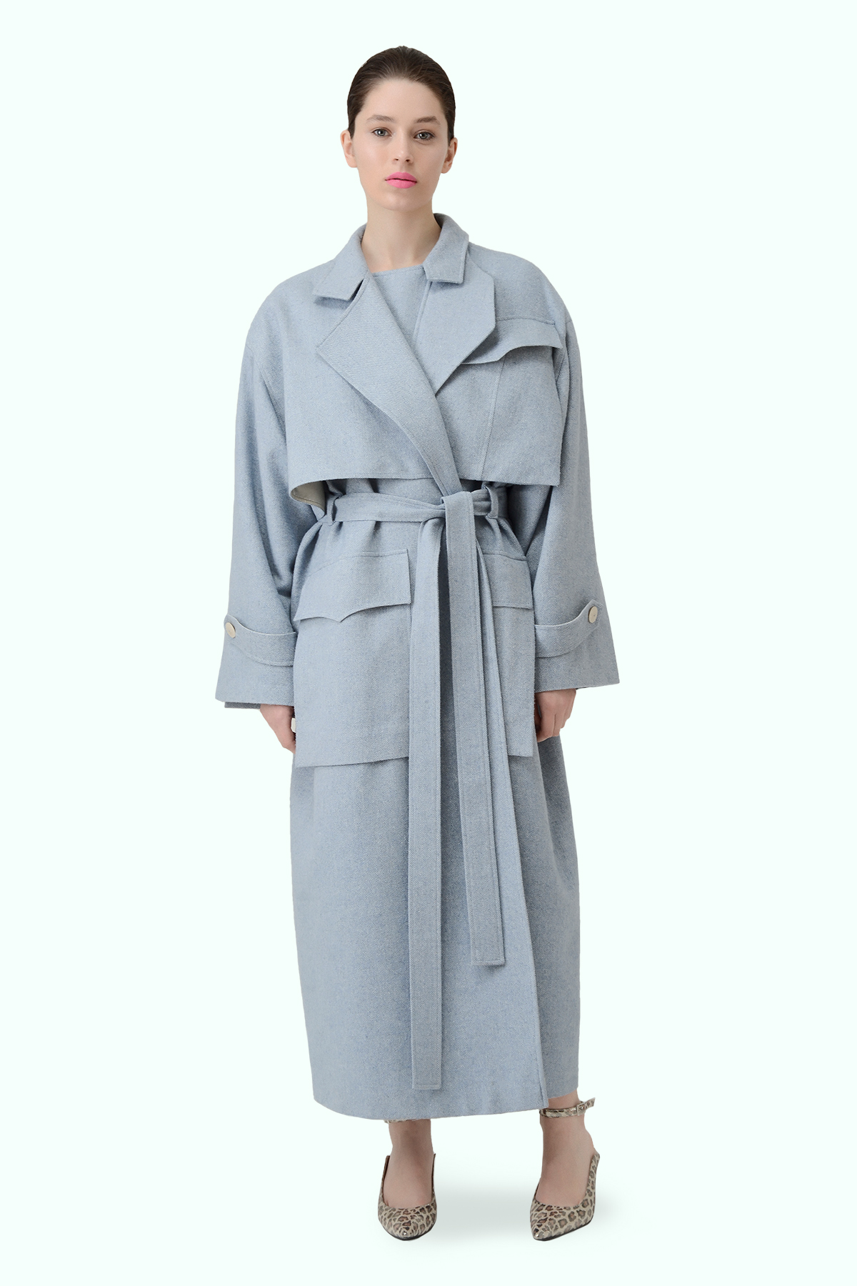 Blue tweed trench coat with multiple pockets