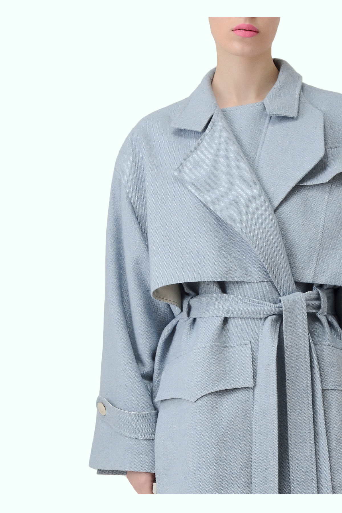 Blue tweed trench coat with multiple pockets 2