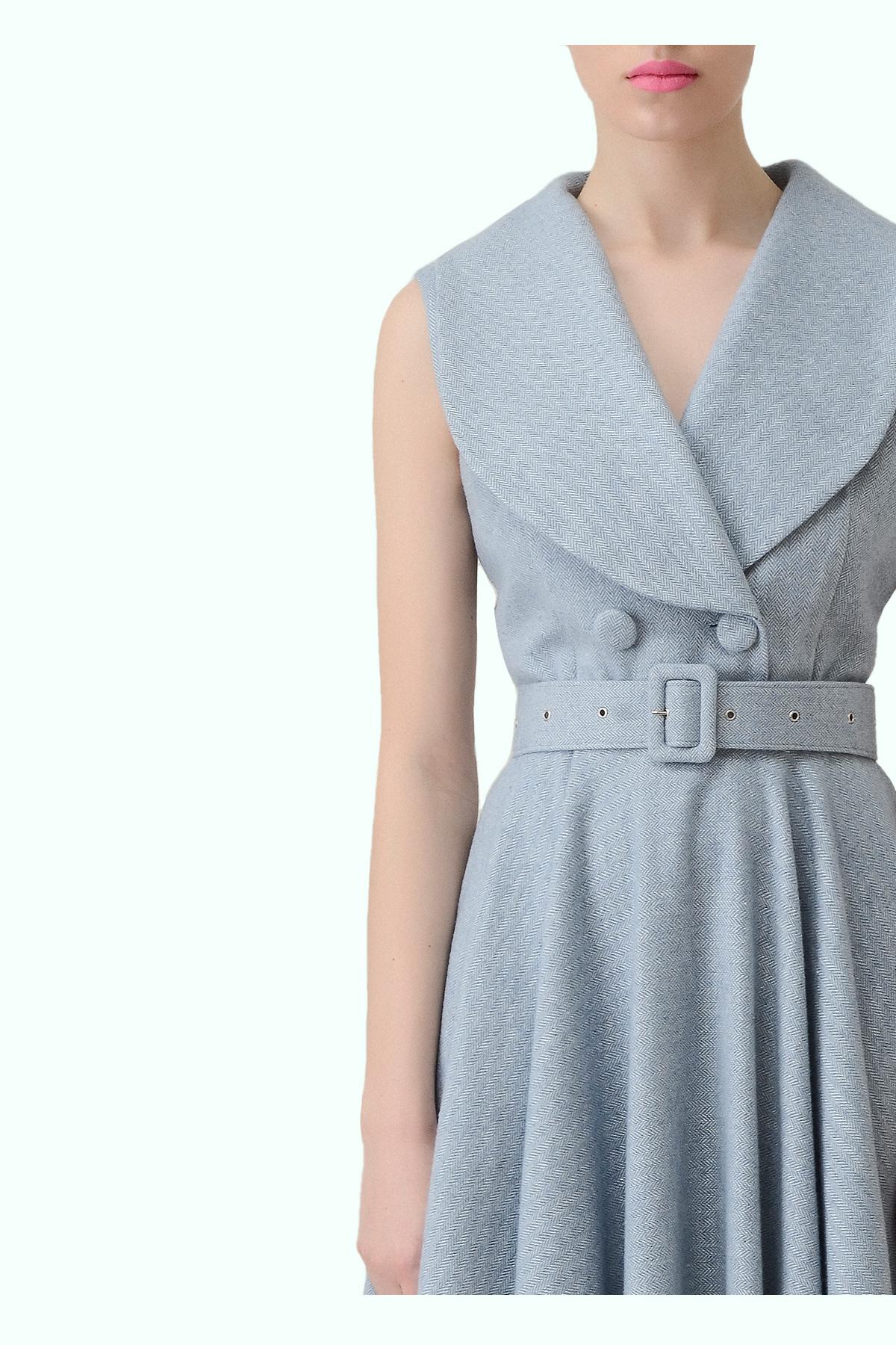Blue tweed flare dress  2