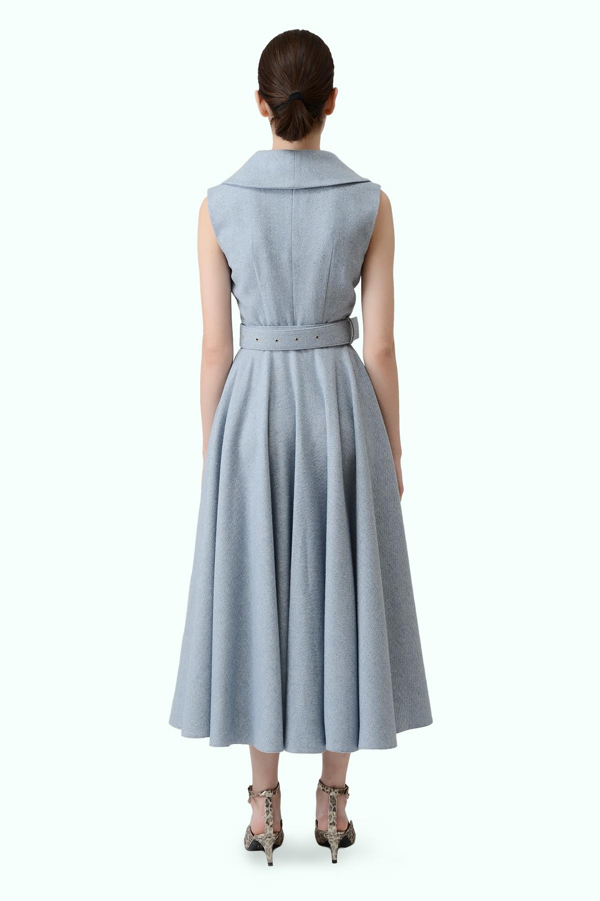 Blue tweed flare dress  3