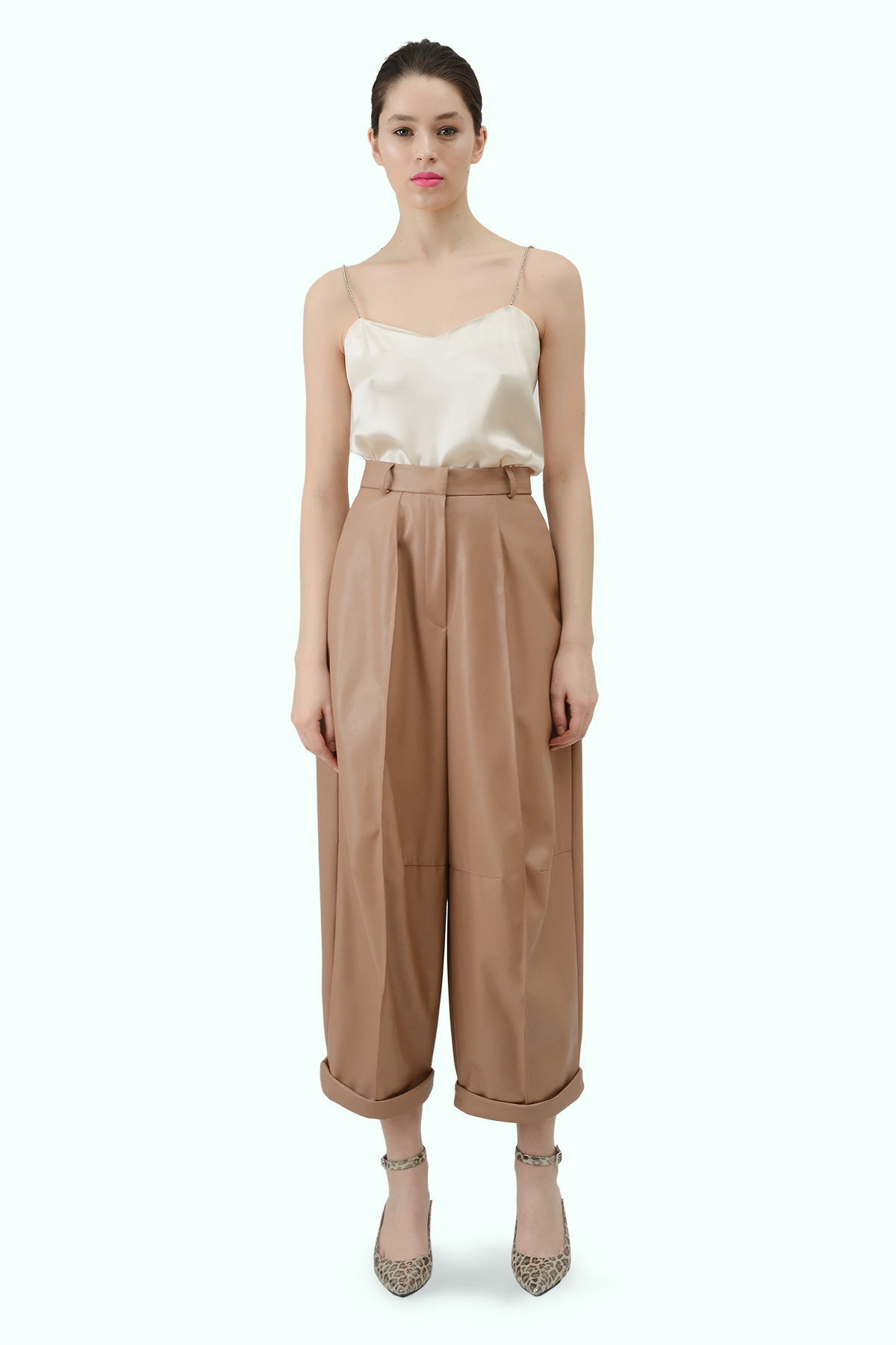 Beige vegan leather high waist wide leg cropped pants