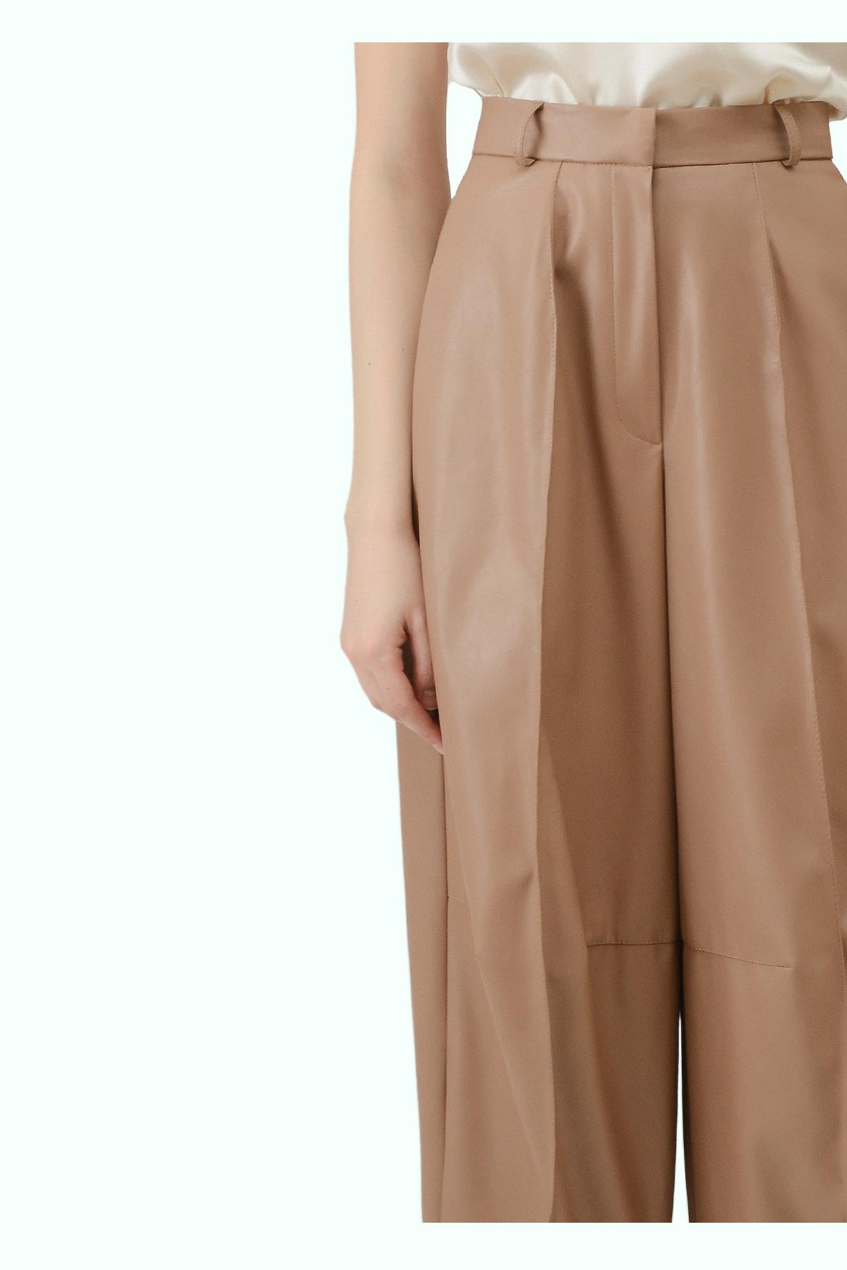 Beige vegan leather high waist wide leg cropped pants 2