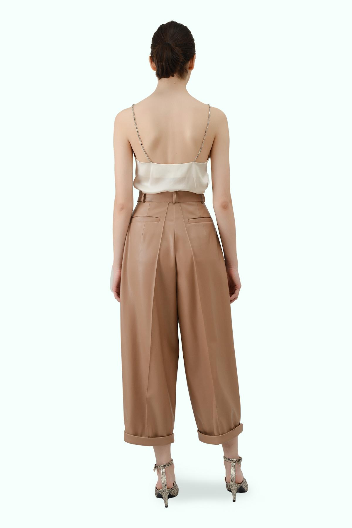 Beige vegan leather high waist wide leg cropped pants 3