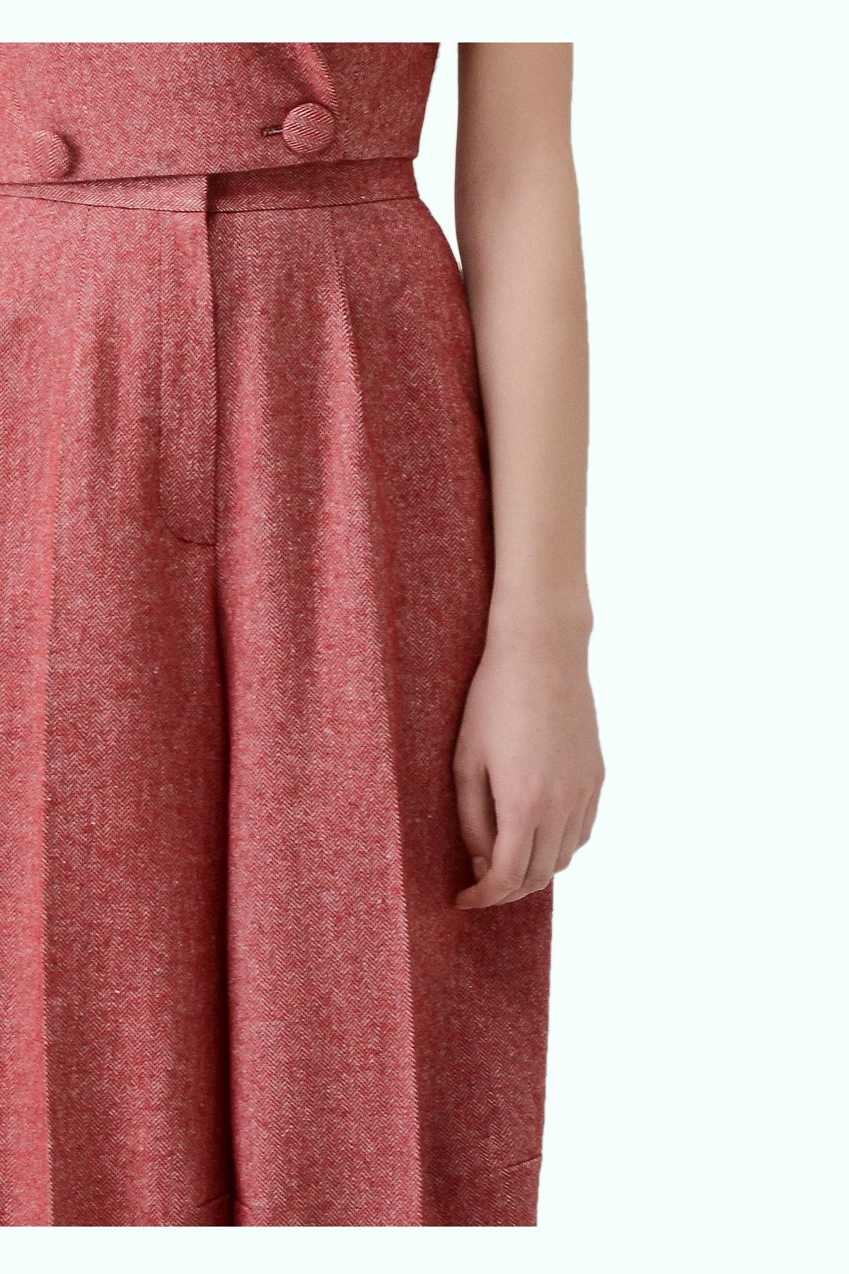 Red tweed wide leg pants 2