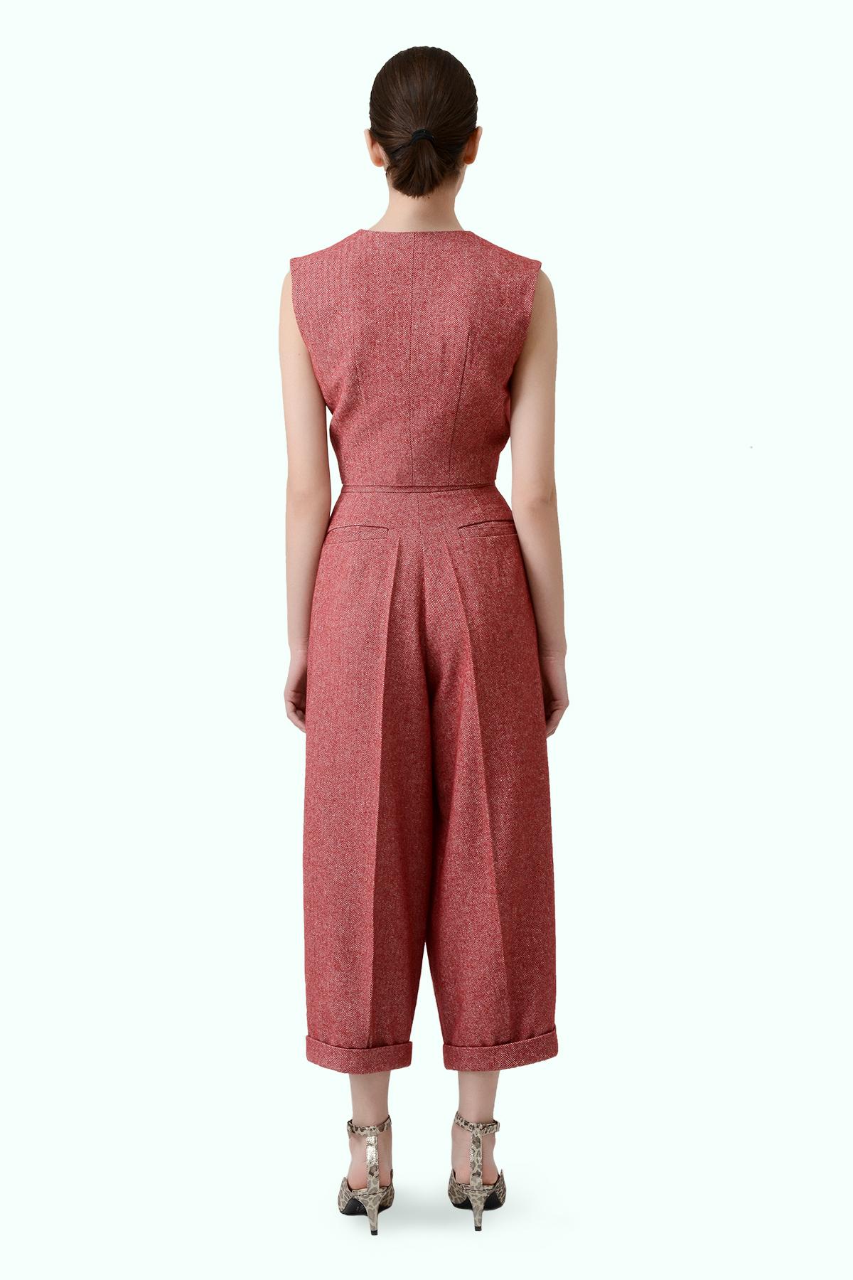 Red tweed wide leg pants 3