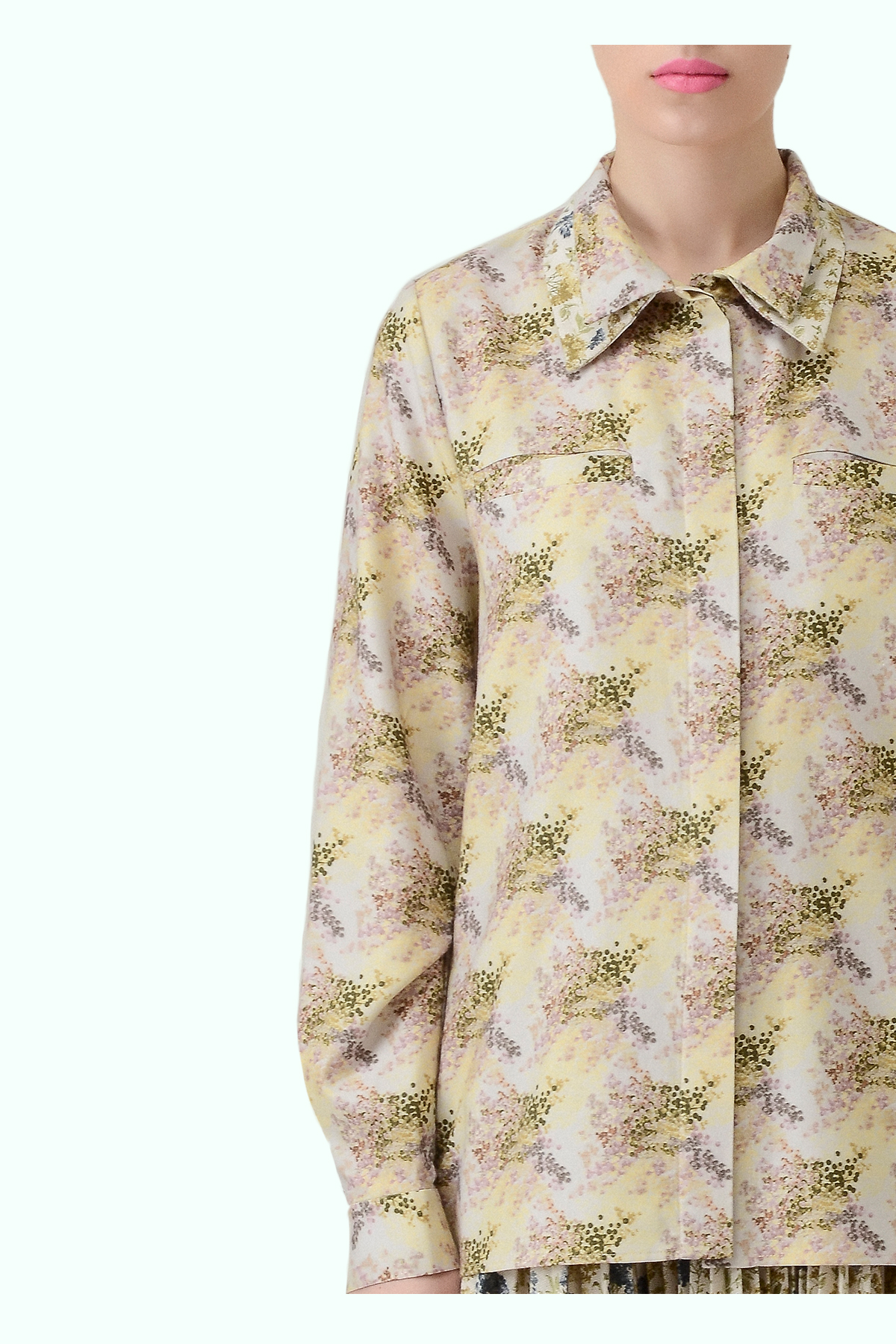 Mixed floral shirt with double collar 2