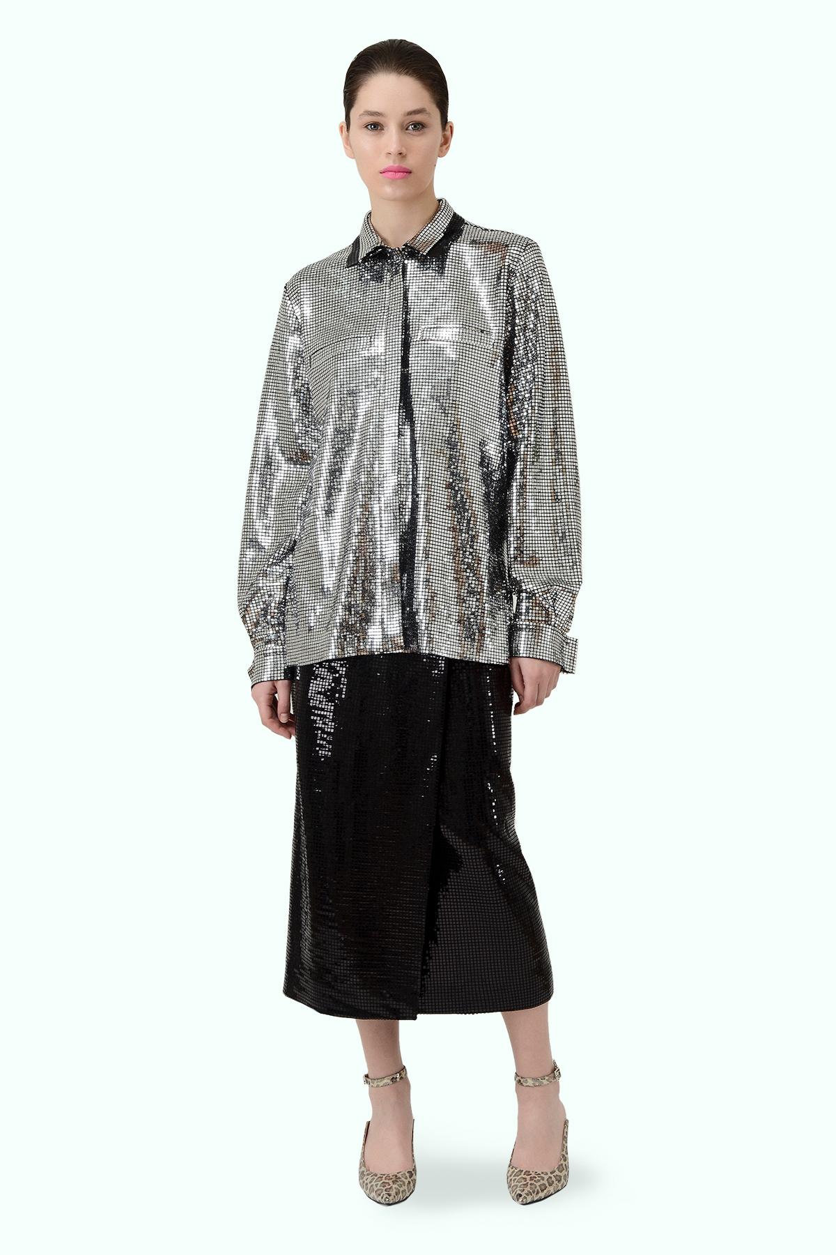 Silver double collar disco shirt