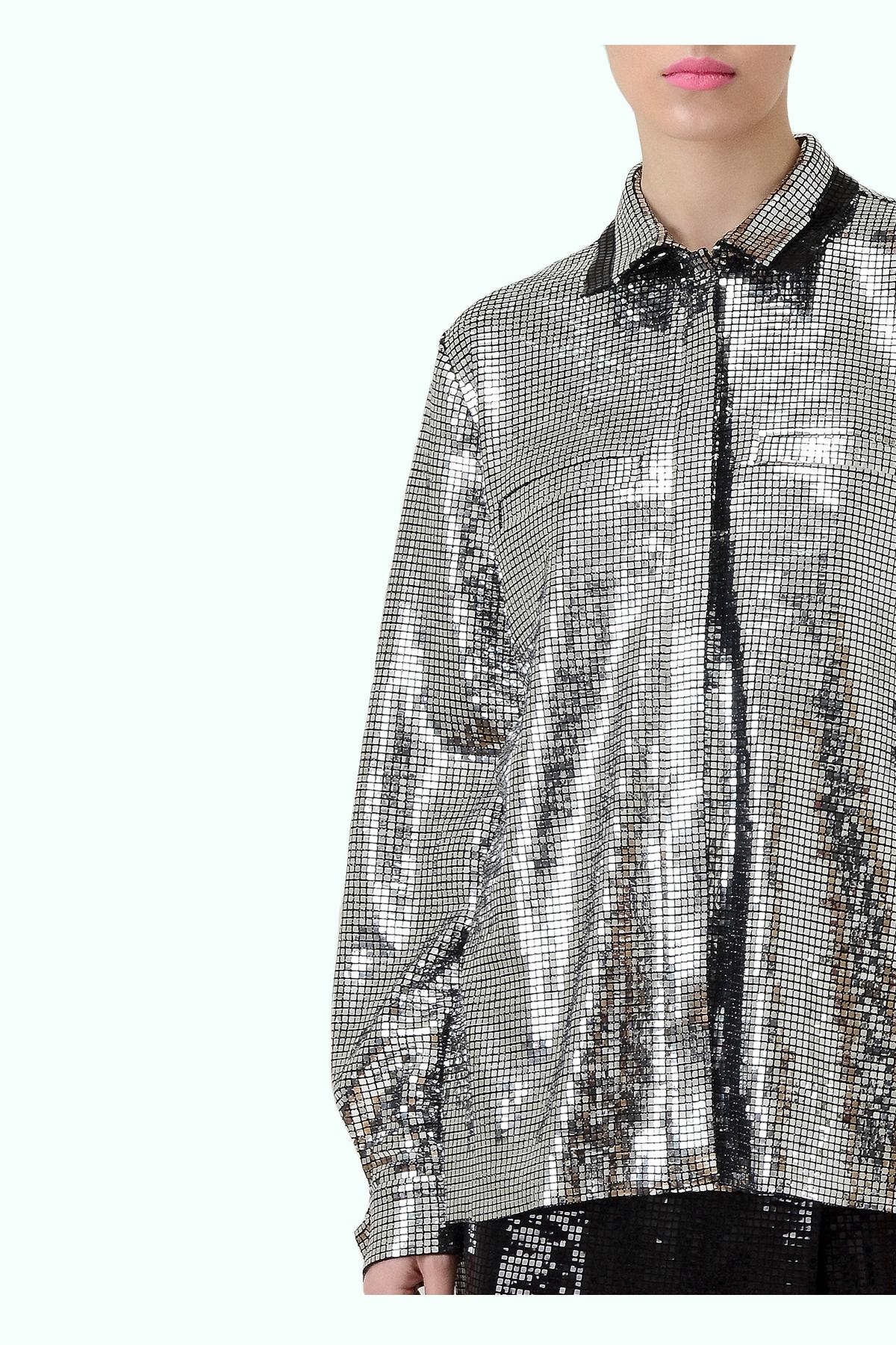 Silver double collar disco shirt 2