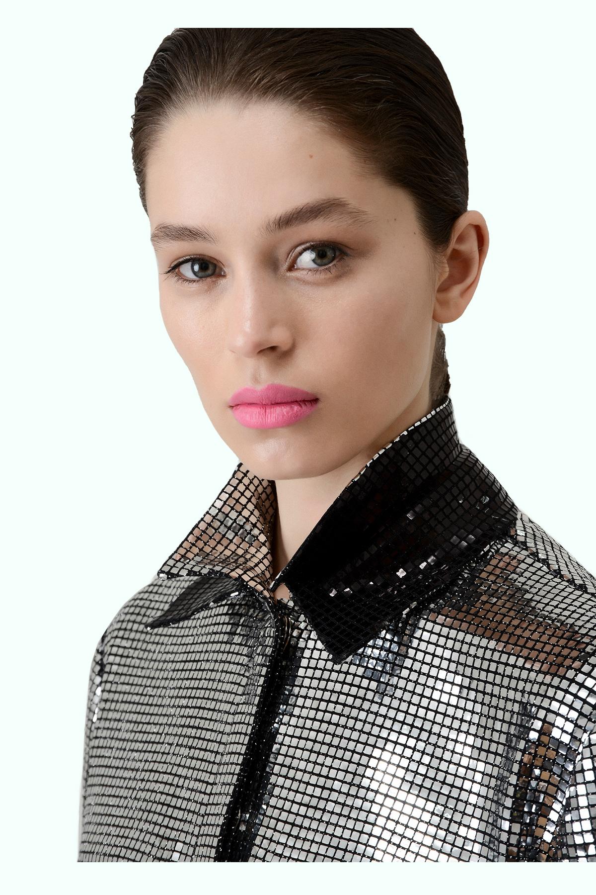 Silver double collar disco shirt 3