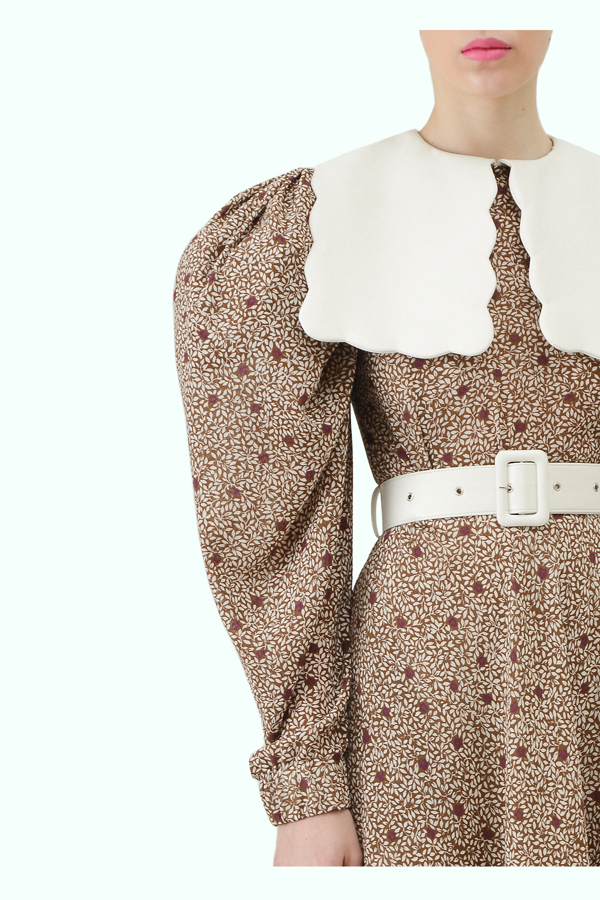 Floral print chiffon dress with puff sleeves and white vegan leather puritan collar 2