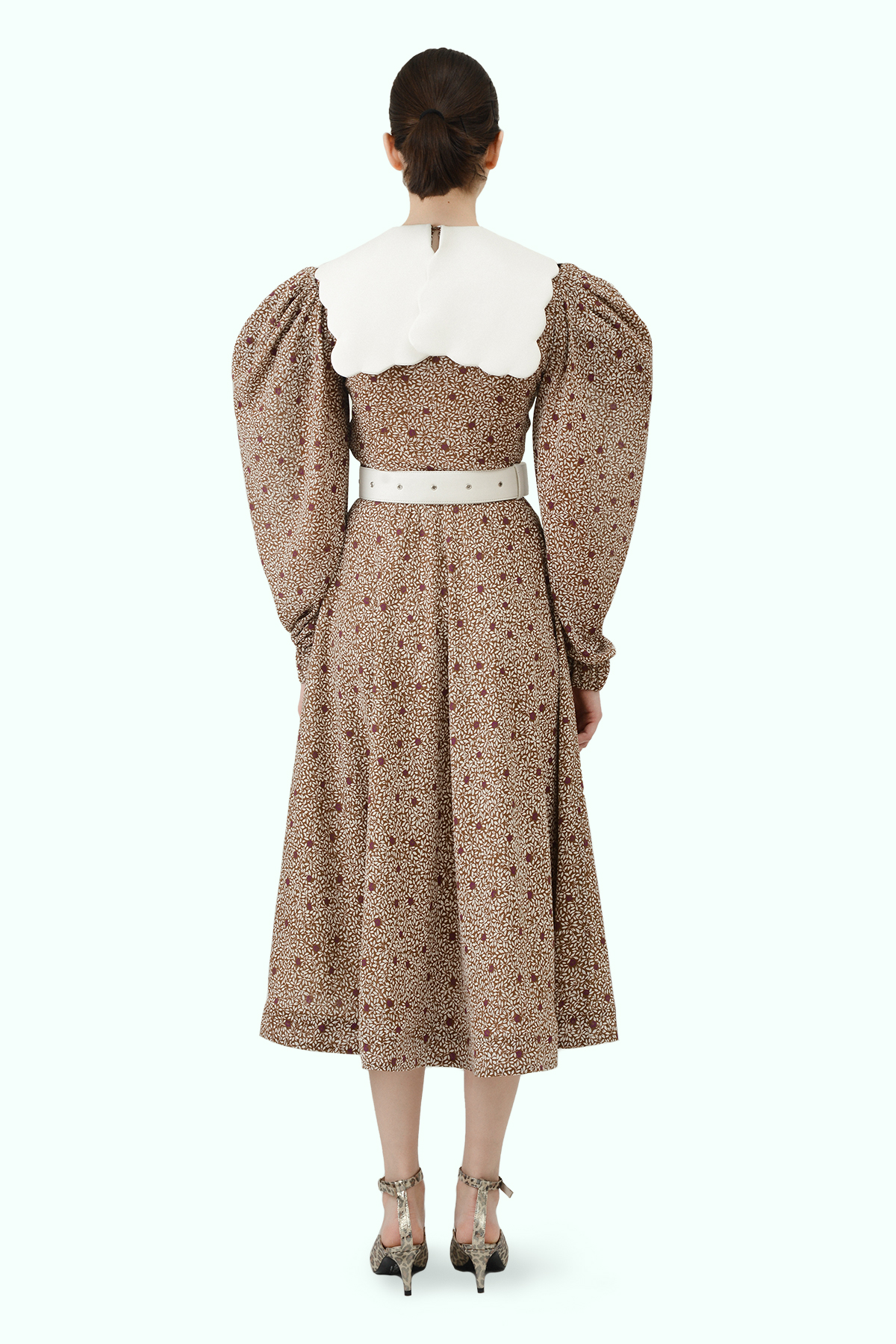 Floral print chiffon dress with puff sleeves and white vegan leather puritan collar 3