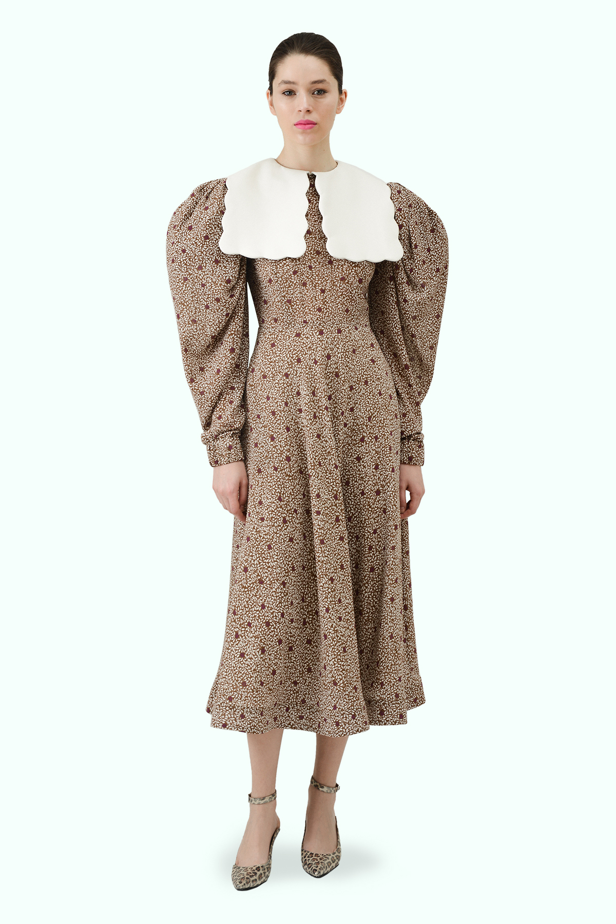 Floral print chiffon dress with puff sleeves and white vegan leather puritan collar 4
