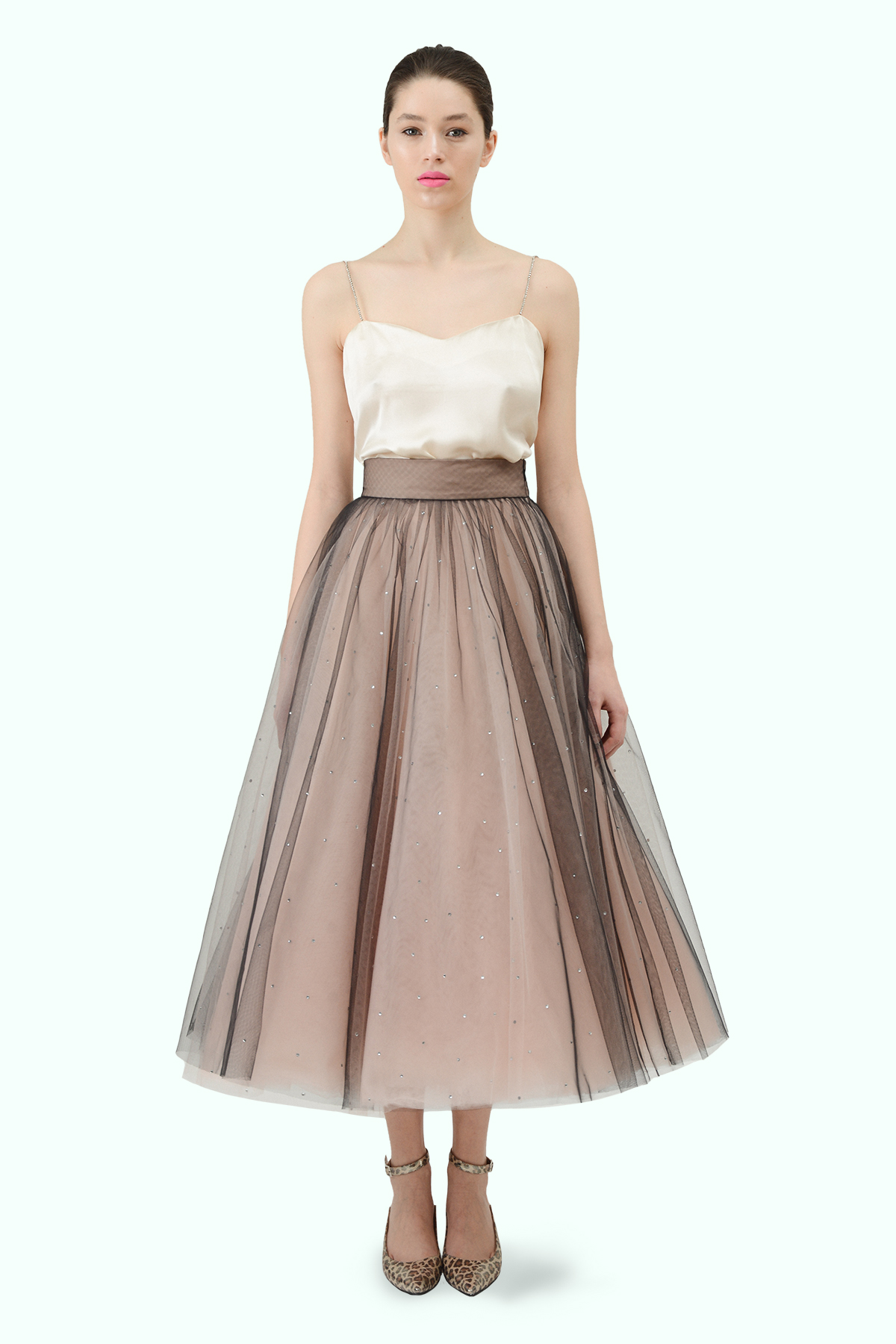 "Beige ""Ballerina"" tulle skirt with embroidered crystals"