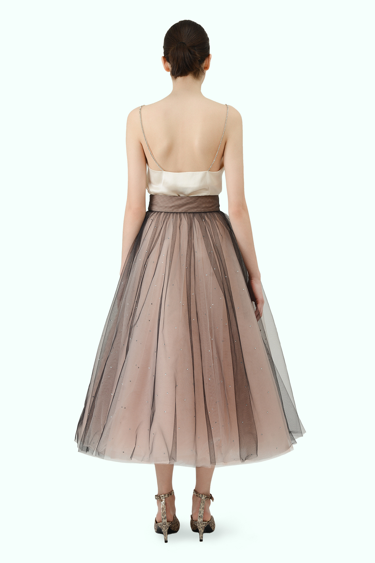 "Beige ""Ballerina"" tulle skirt with embroidered crystals 3"