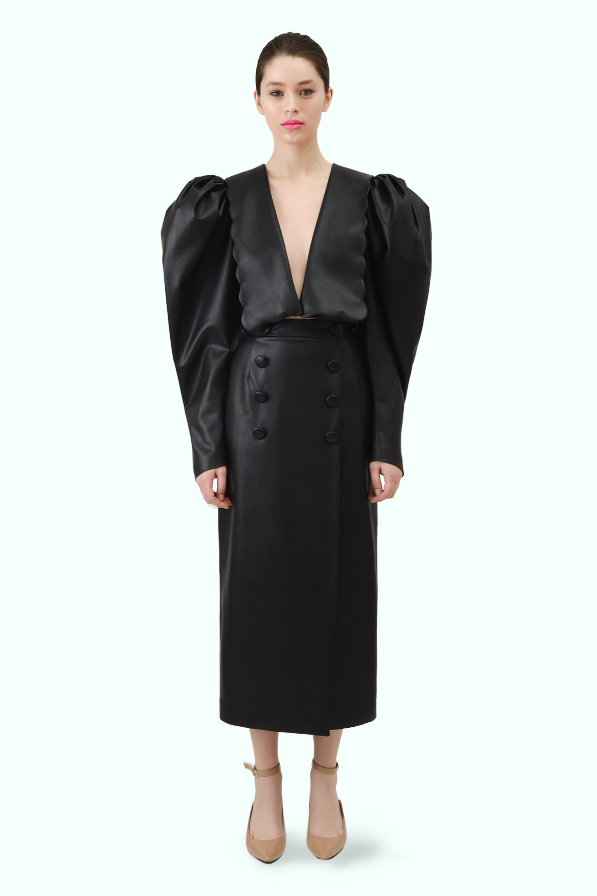 Black vegan leather puff sleeve and puritan collar cropped blazer