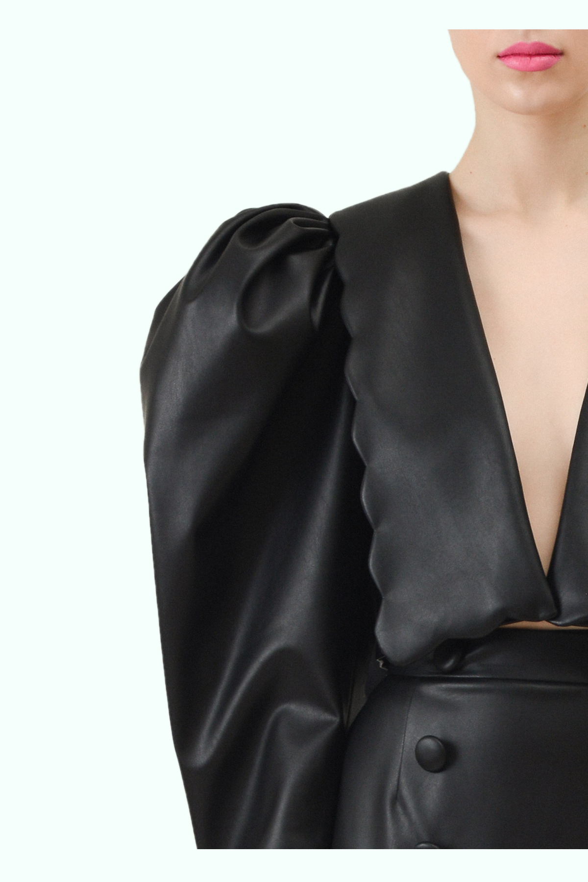 Black vegan leather puff sleeve and puritan collar cropped blazer 2