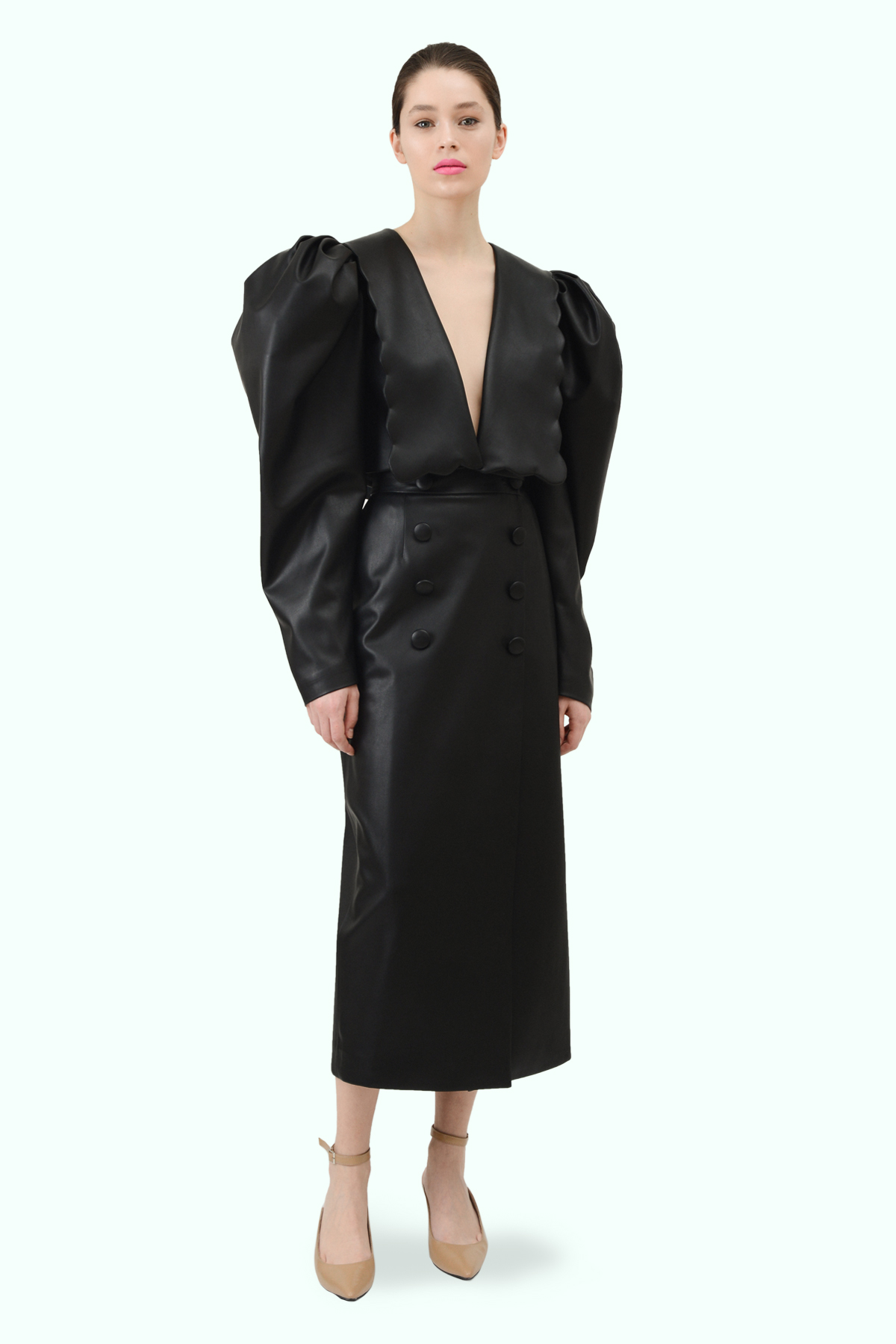 Black vegan leather puff sleeve and puritan collar cropped blazer 3