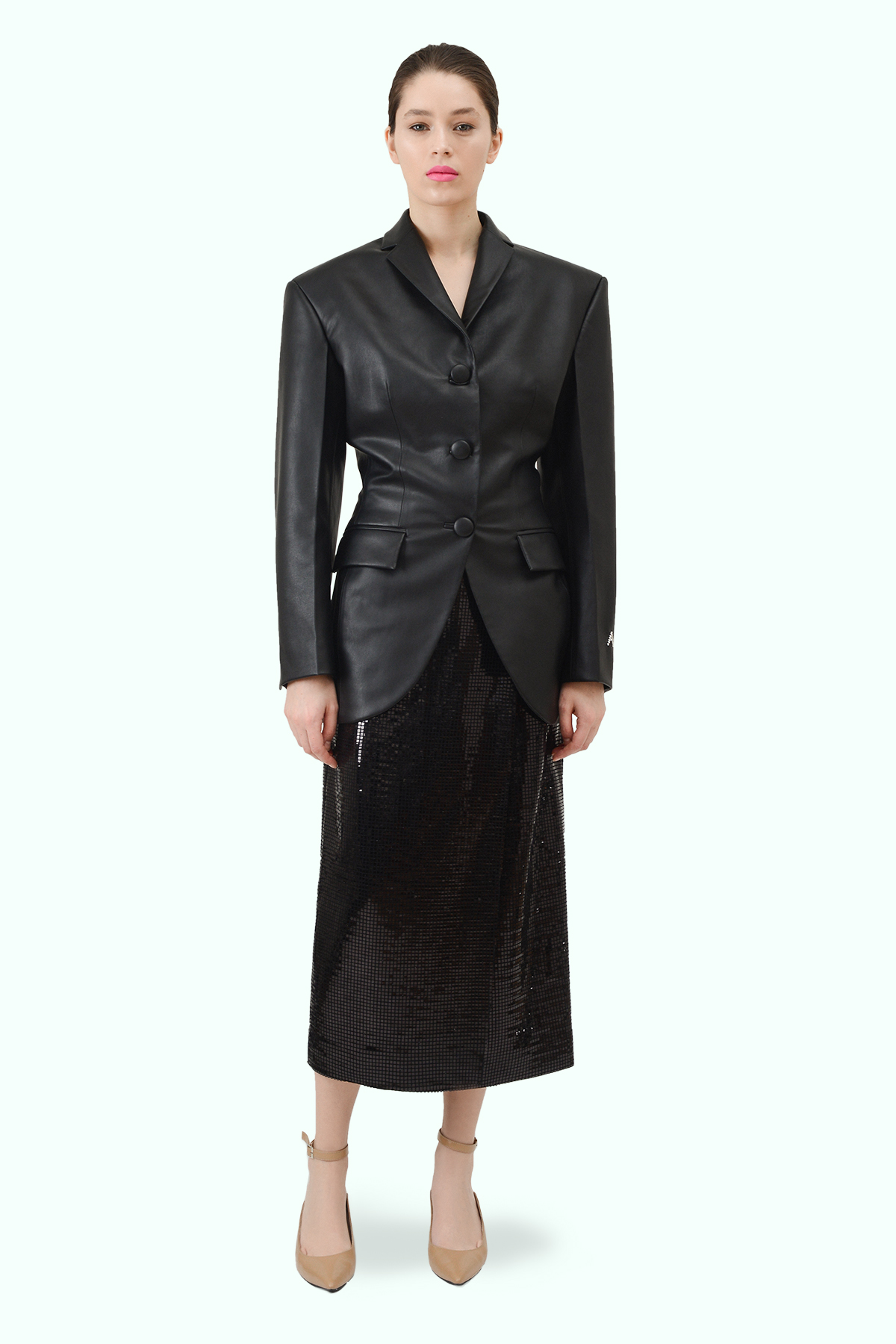 Black vegan leather fitted waist blazer