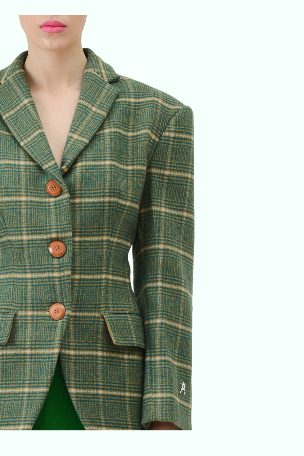 Multicolor check wool fitted waist blazer 2