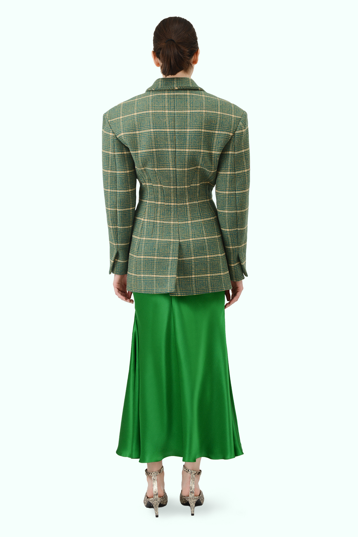 Multicolor check wool fitted waist blazer 3