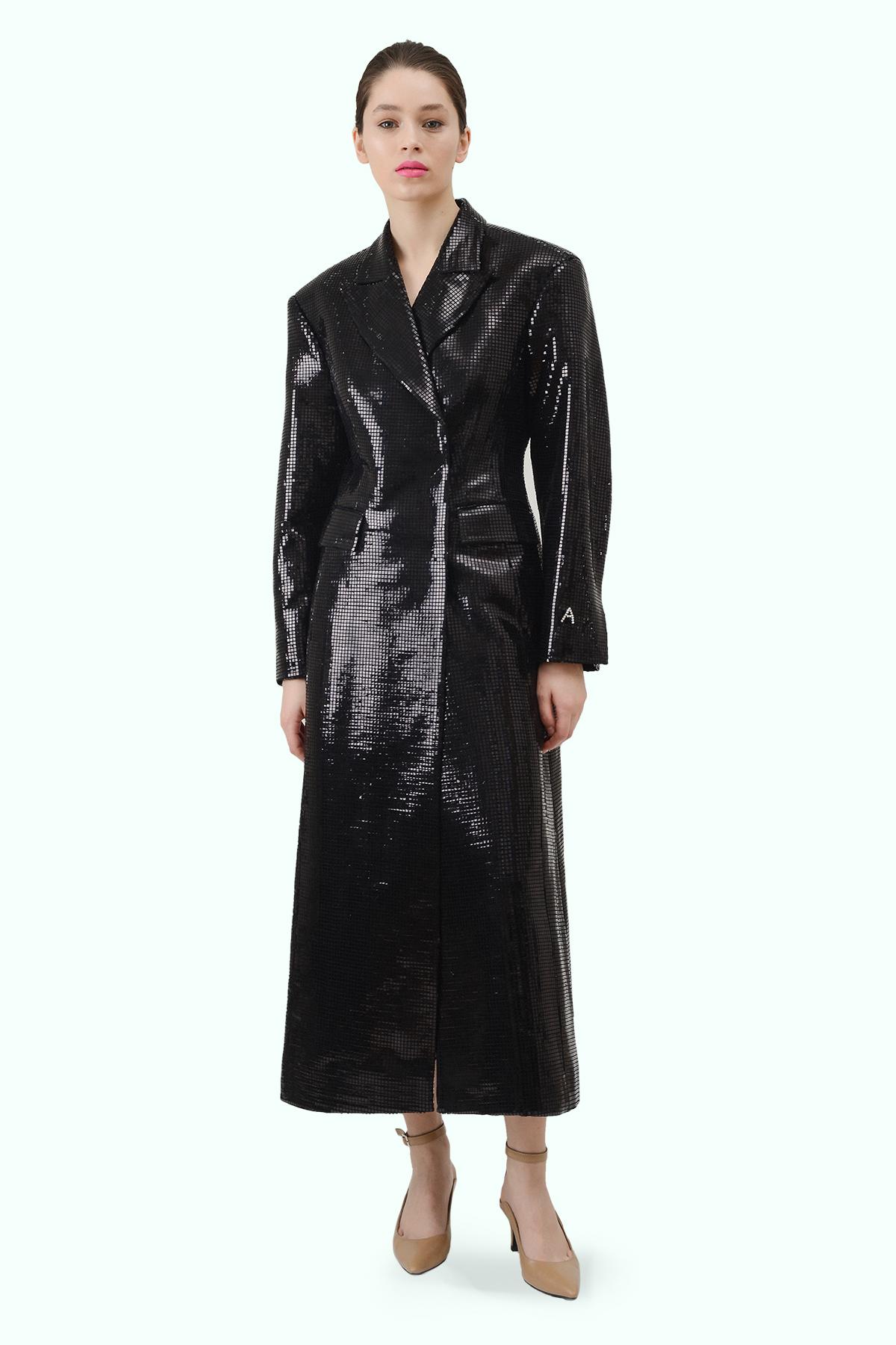 """Black sparkly """"Matrix"""" coat"""