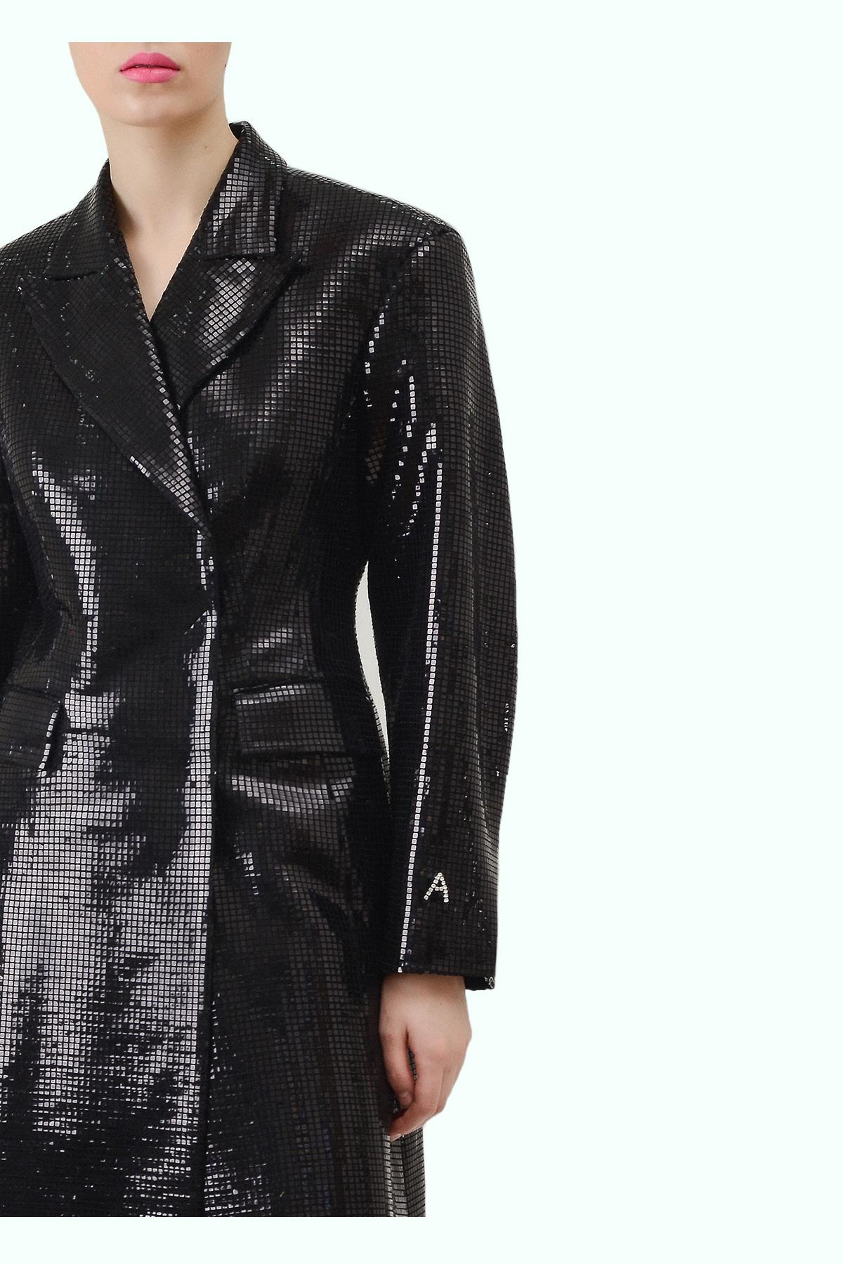 """Black sparkly """"Matrix"""" coat 2"""