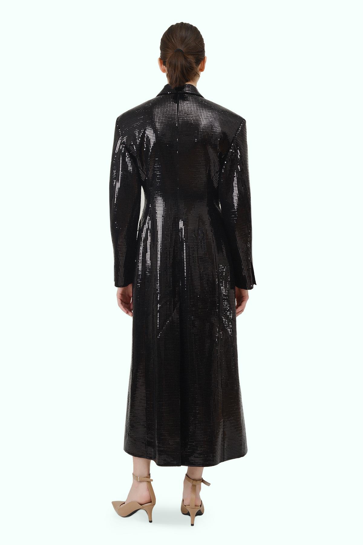 """Black sparkly """"Matrix"""" coat 3"""