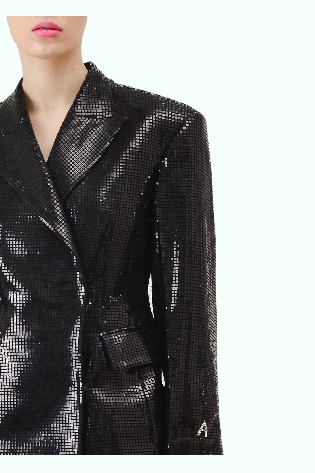 Black sparkly double breast blazer 2