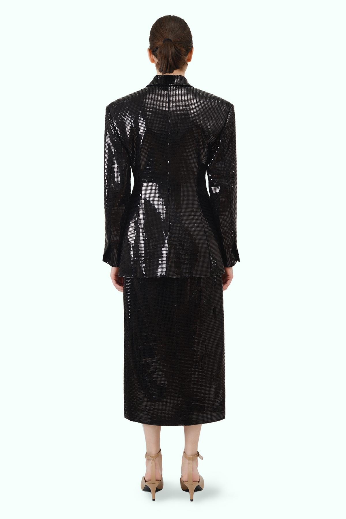 Black sparkly double breast blazer 3