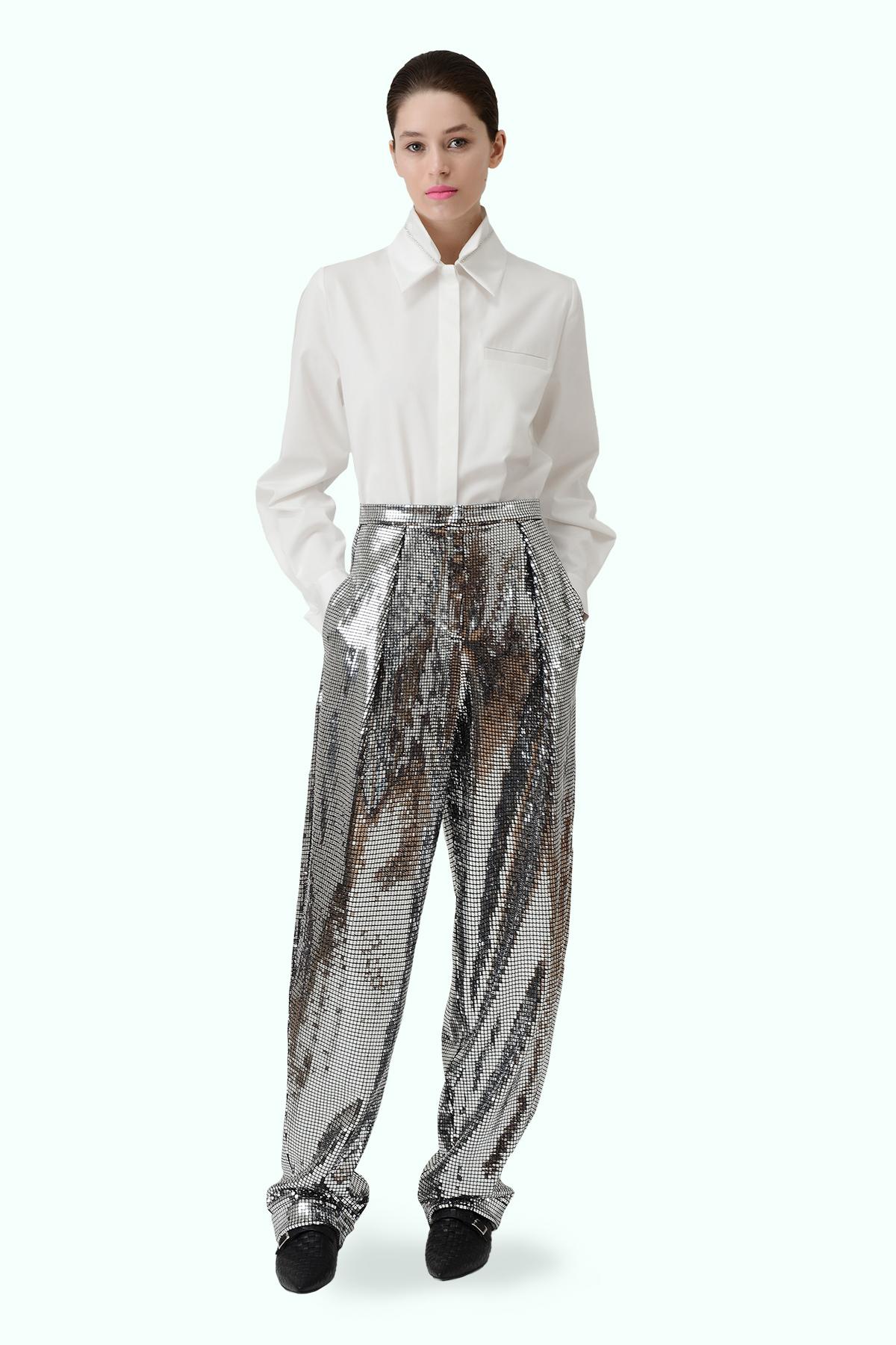 Silver loose disco pants