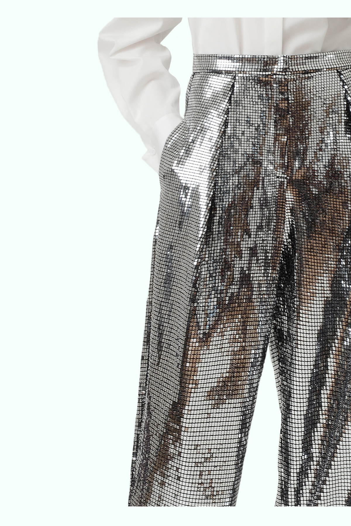 Silver loose disco pants 2
