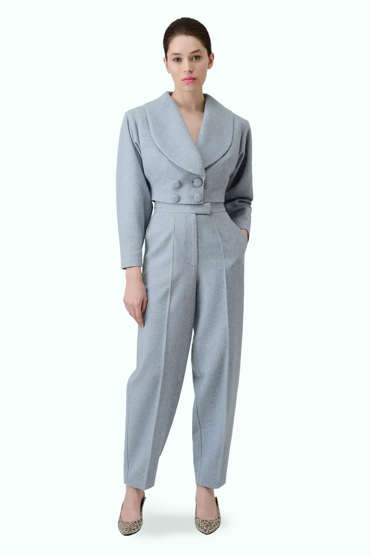 Blue tweed high waist cropped pants