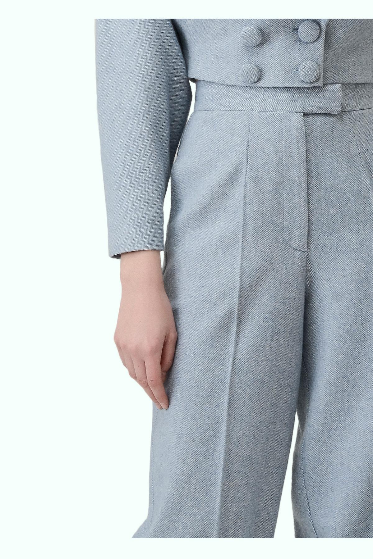 Blue tweed high waist cropped pants 2
