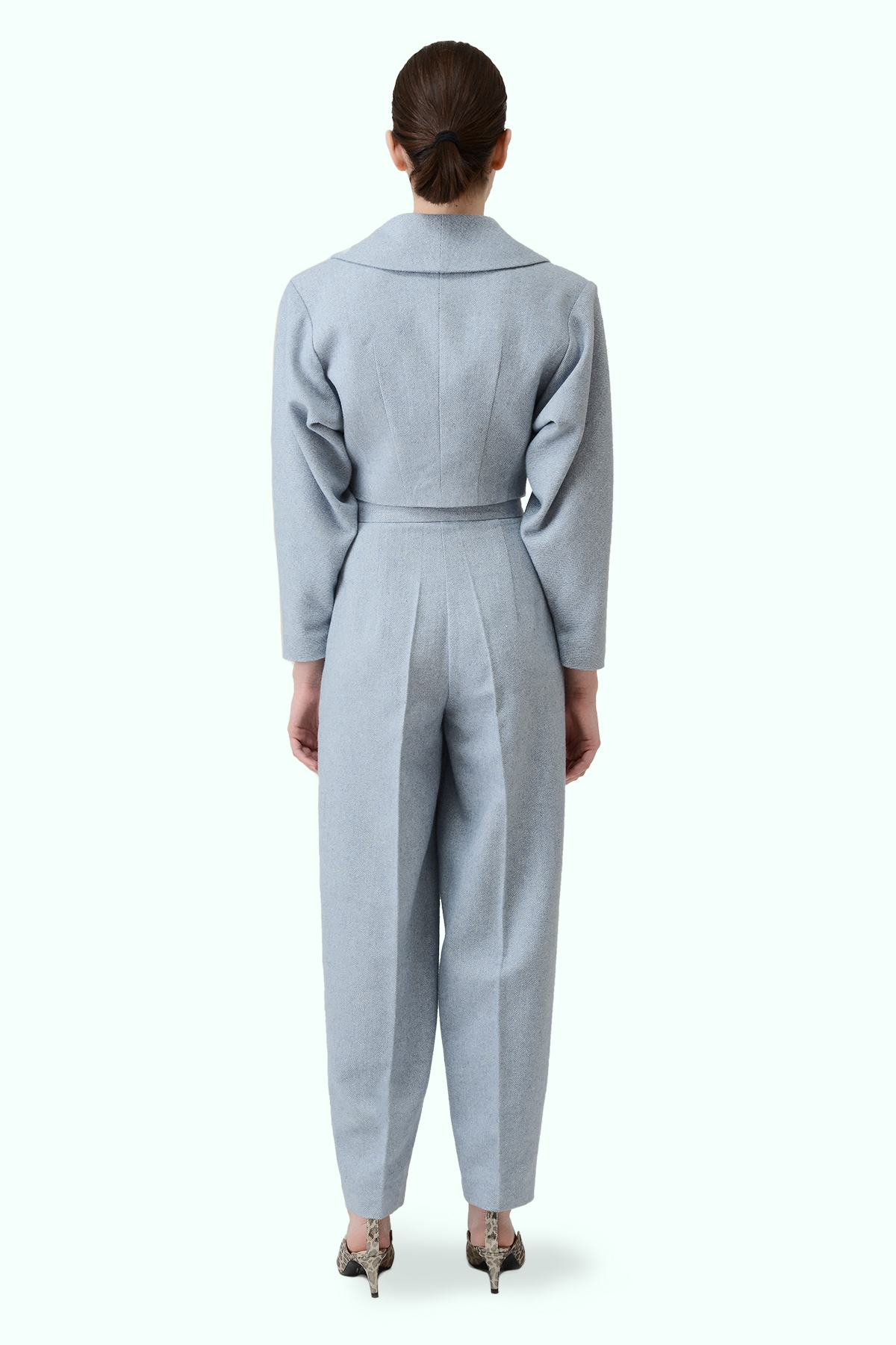 Blue tweed high waist cropped pants 3