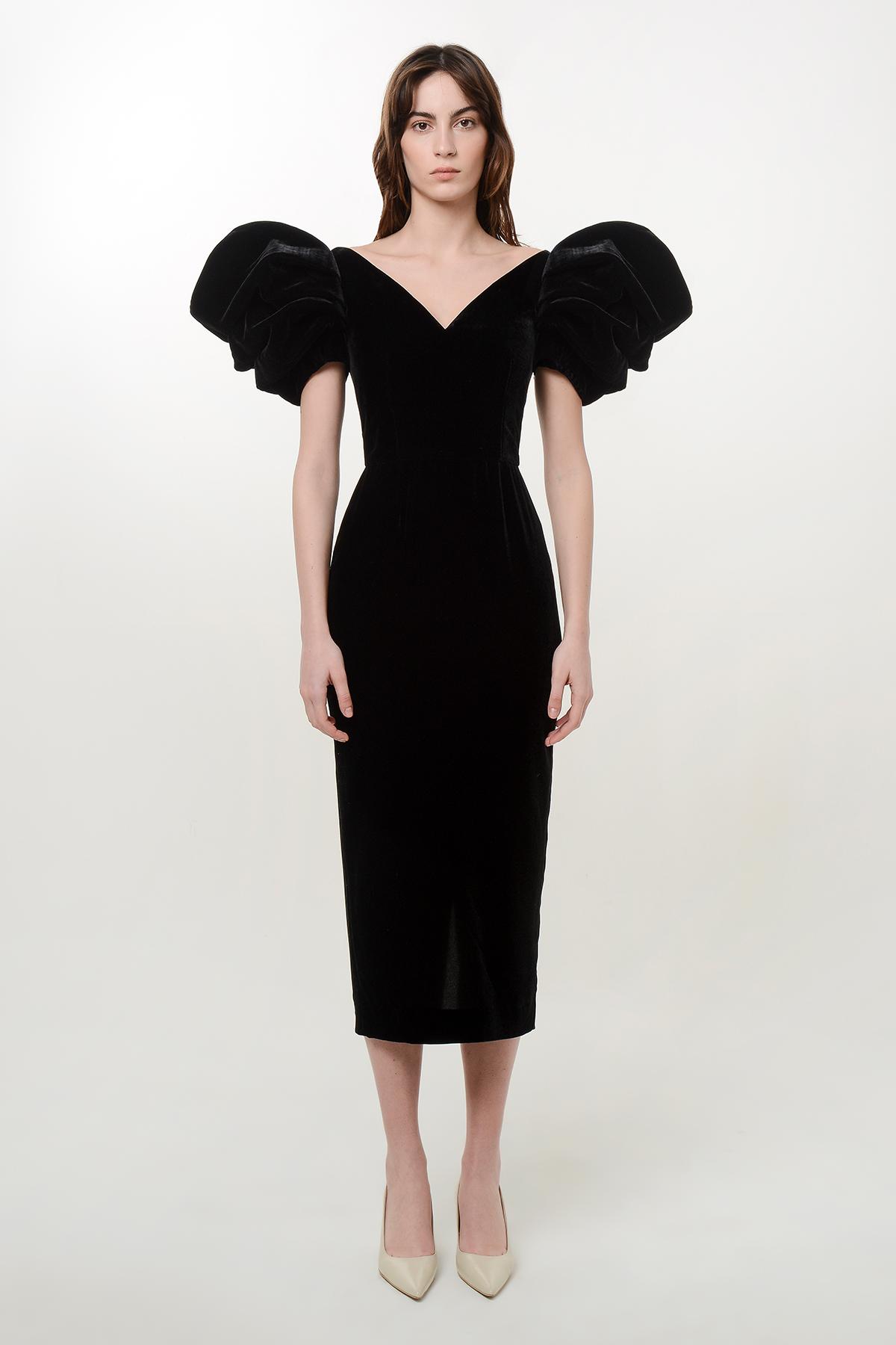 Silk velvet rose dress 1