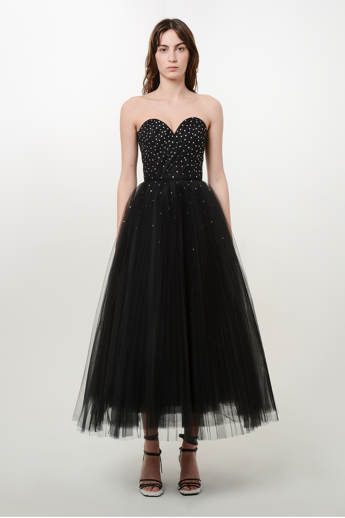Corset style tulle dress with crystals