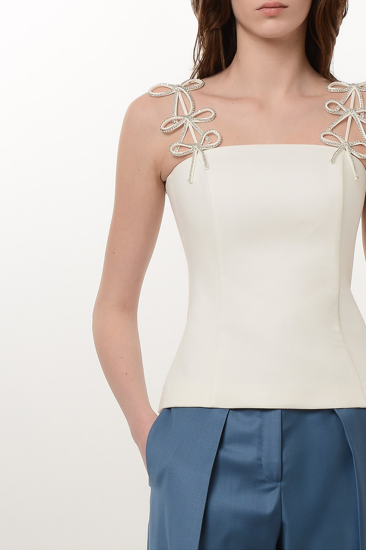 Corset style blouse with crystal ribbons 3