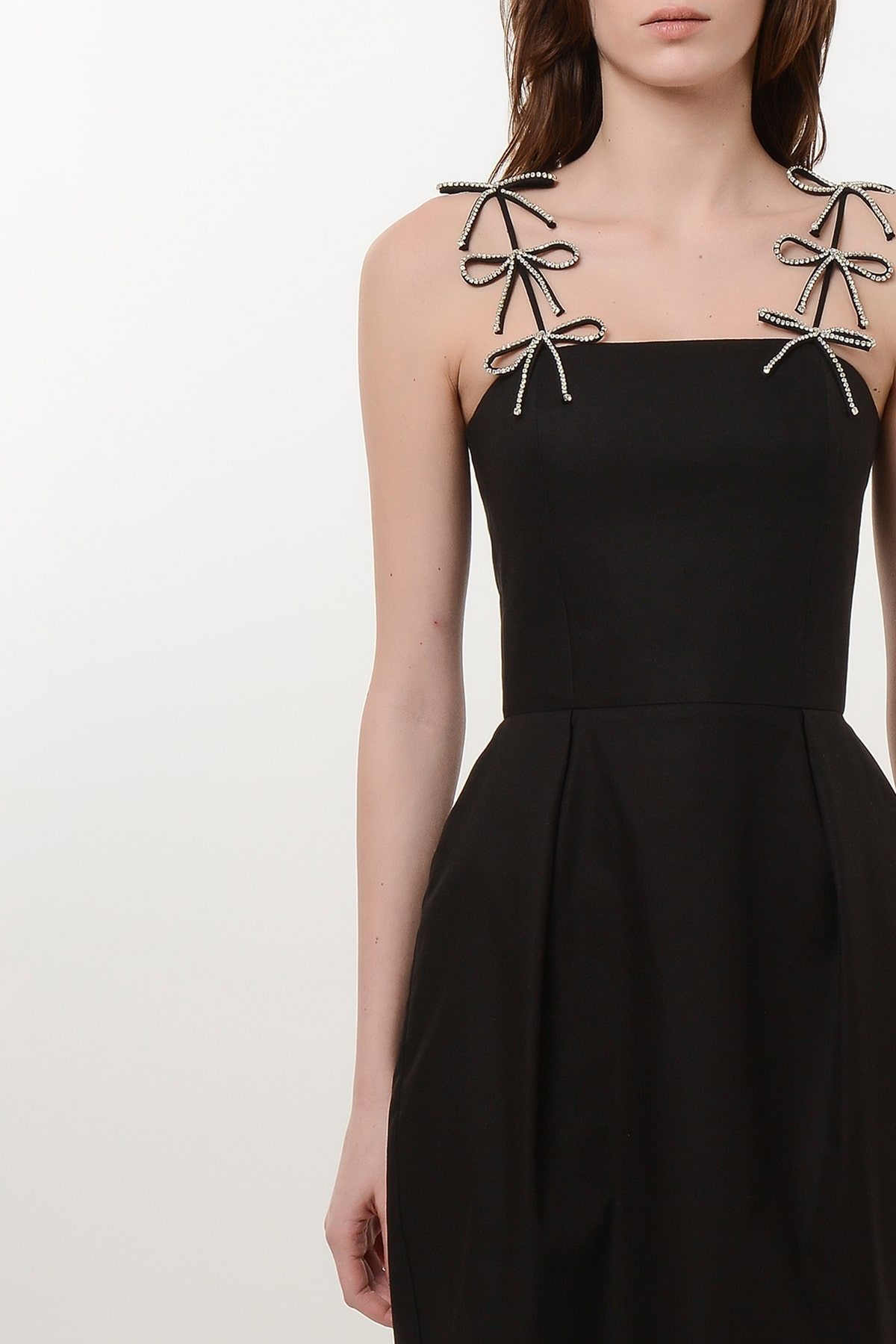 Corset style dress with crystal ribbons 3