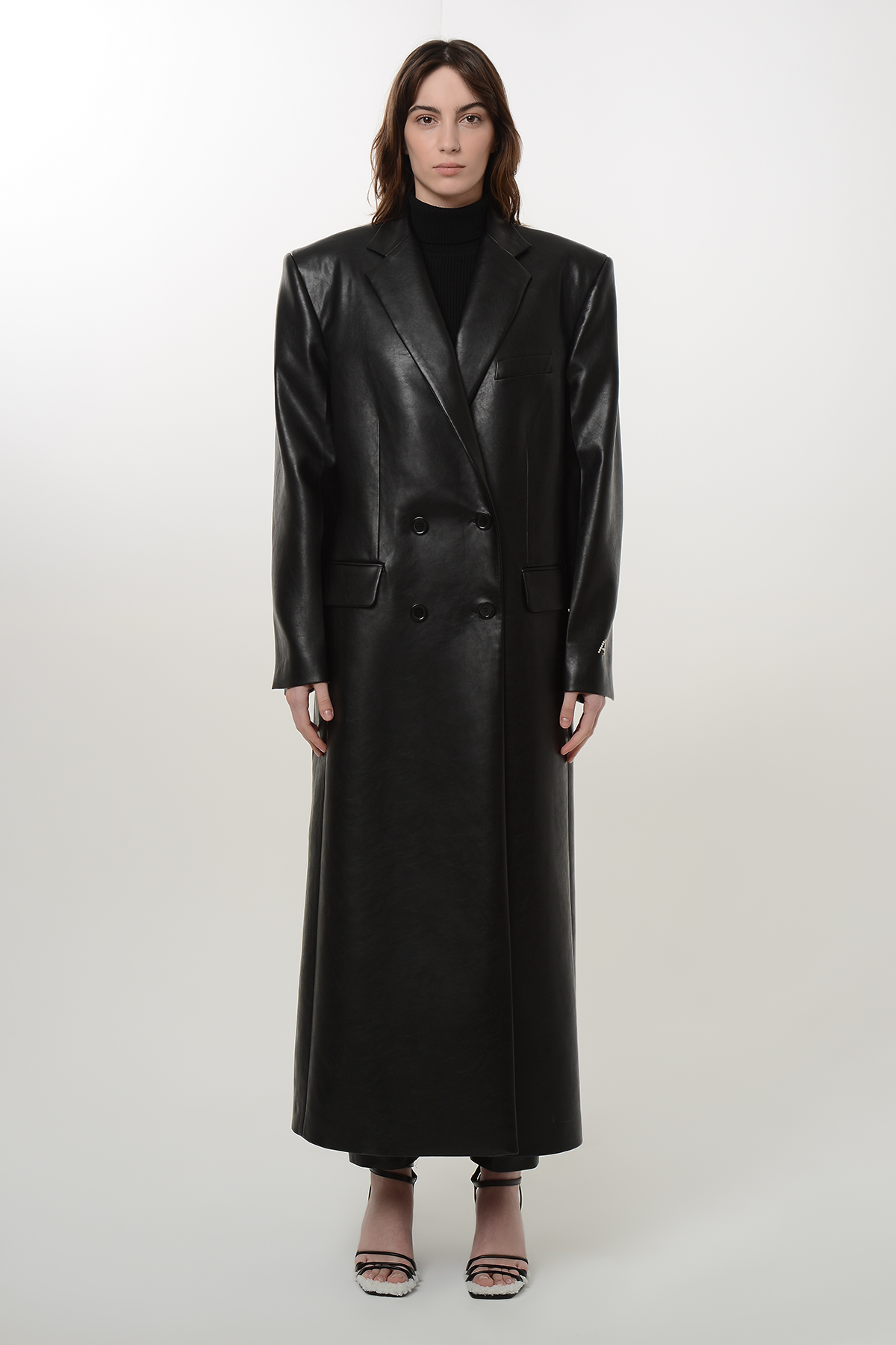 Double breasted vegan leather coat 1