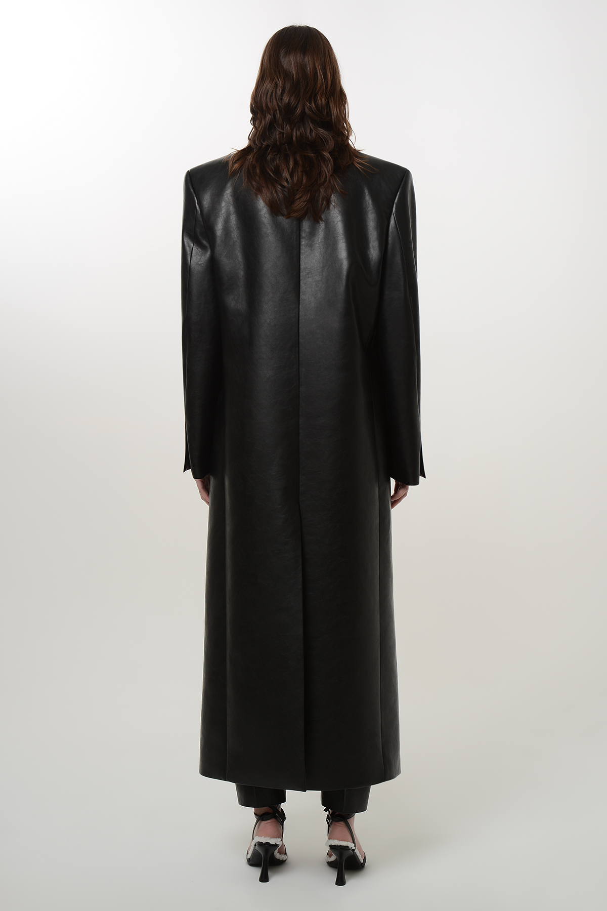 Double breasted vegan leather coat 2