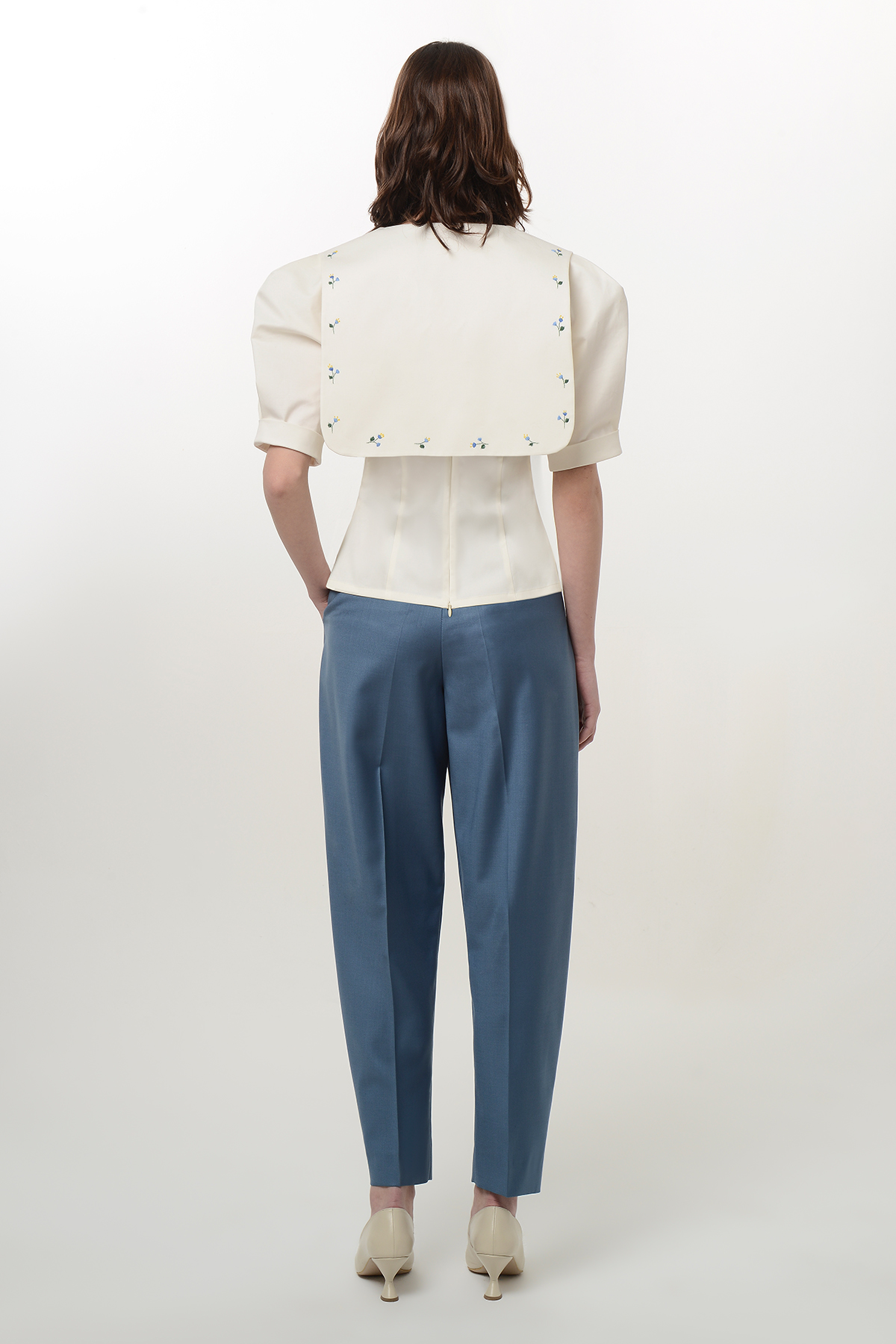 White blouse with embroidery collar 2