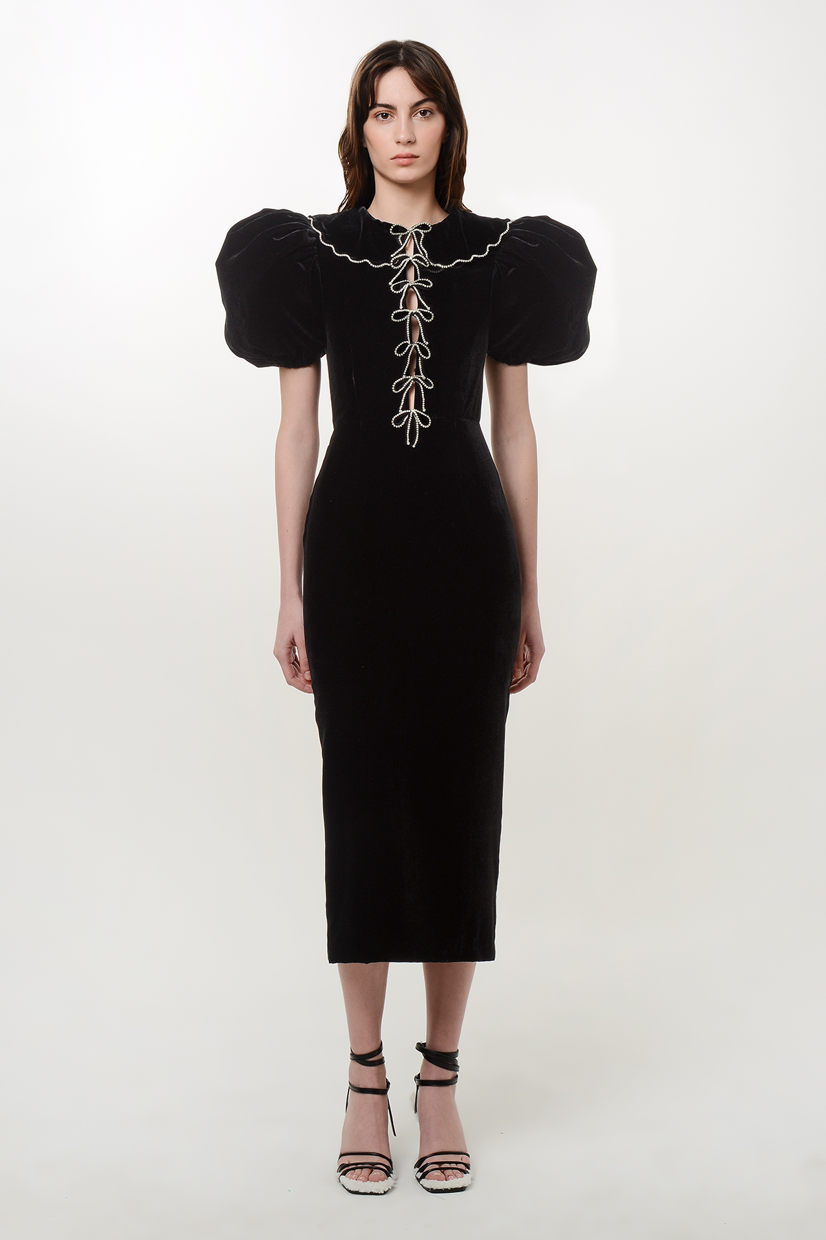 Velvet puff sleeve dress with crystal ribbons 1