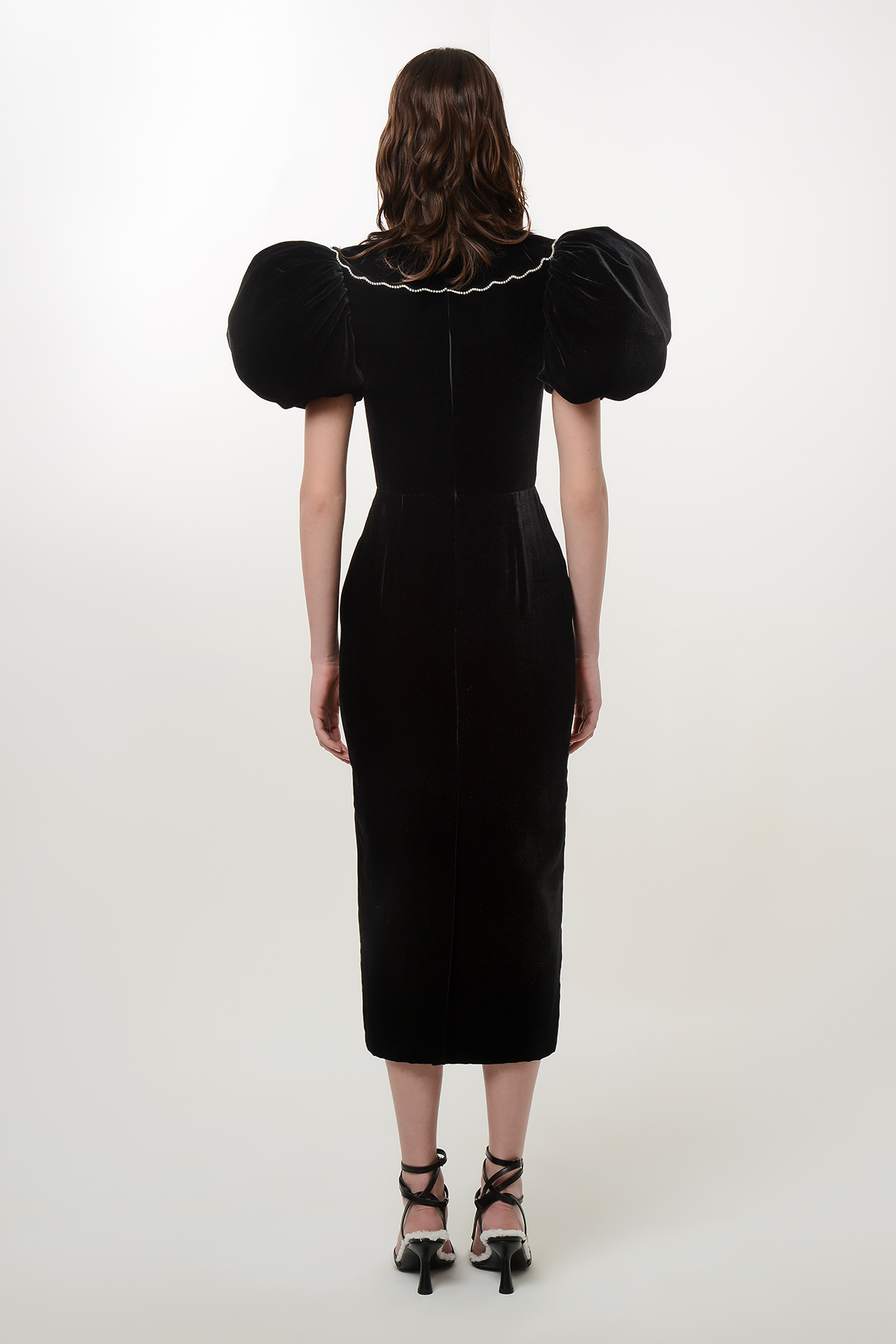 Velvet puff sleeve dress with crystal ribbons 2